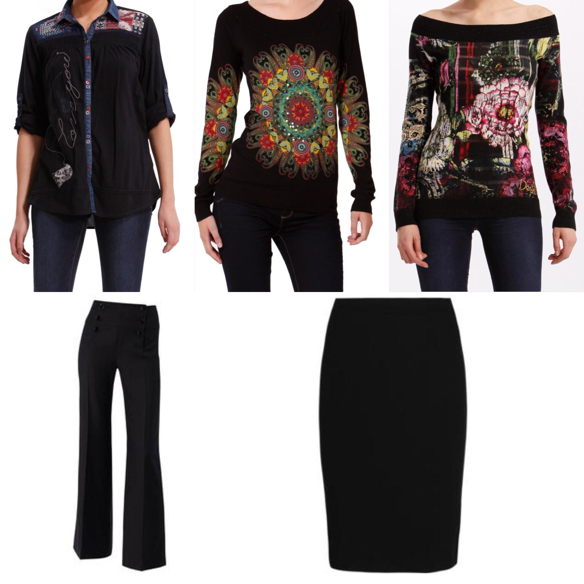Oblečení do kanceláře nemusí být nuda. Doplňte černé kalhoty barevným  svetříkem Desigual! 8d1197fa27