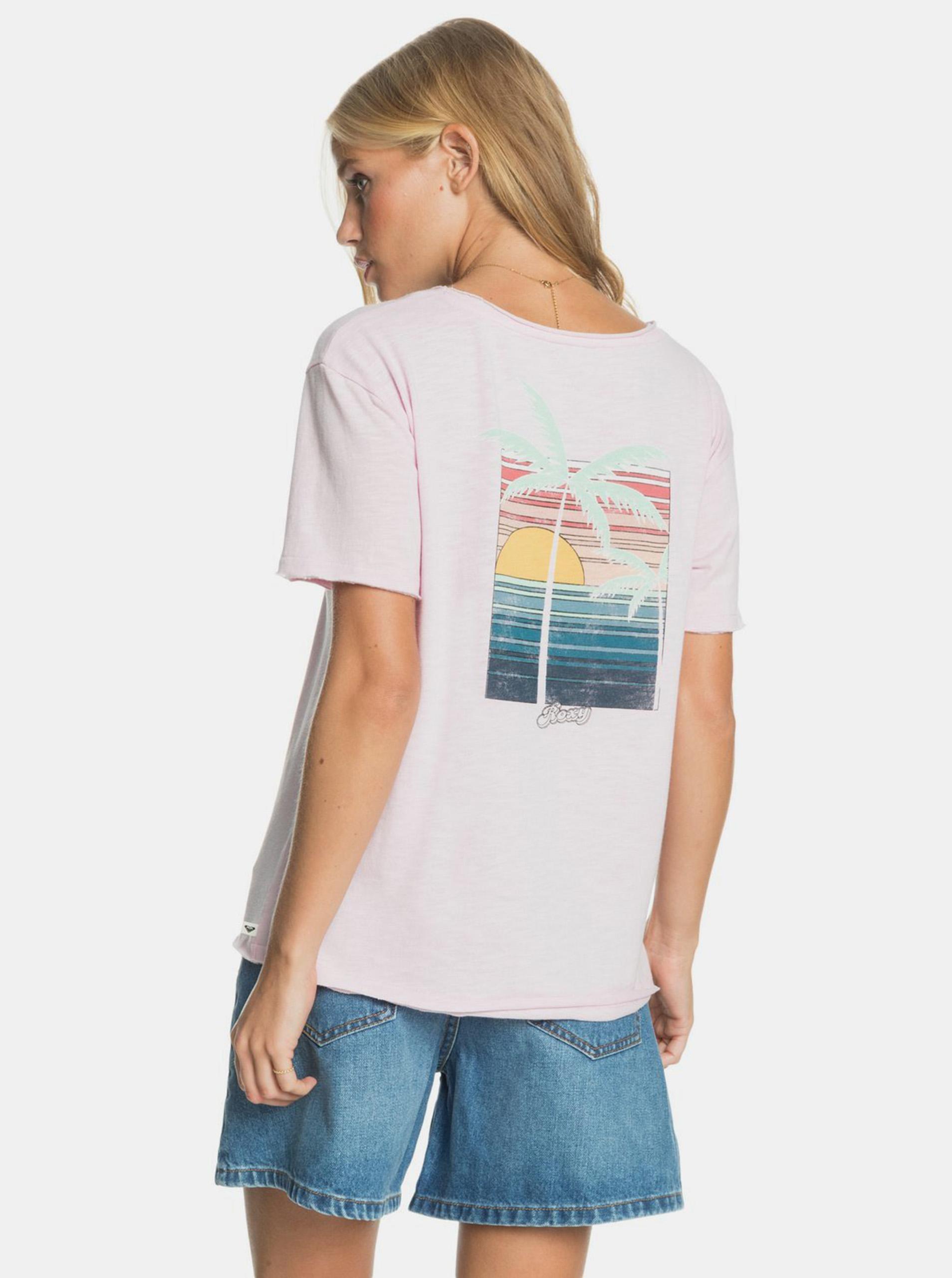 Roxy pudrové tričko s potiskem na zádech