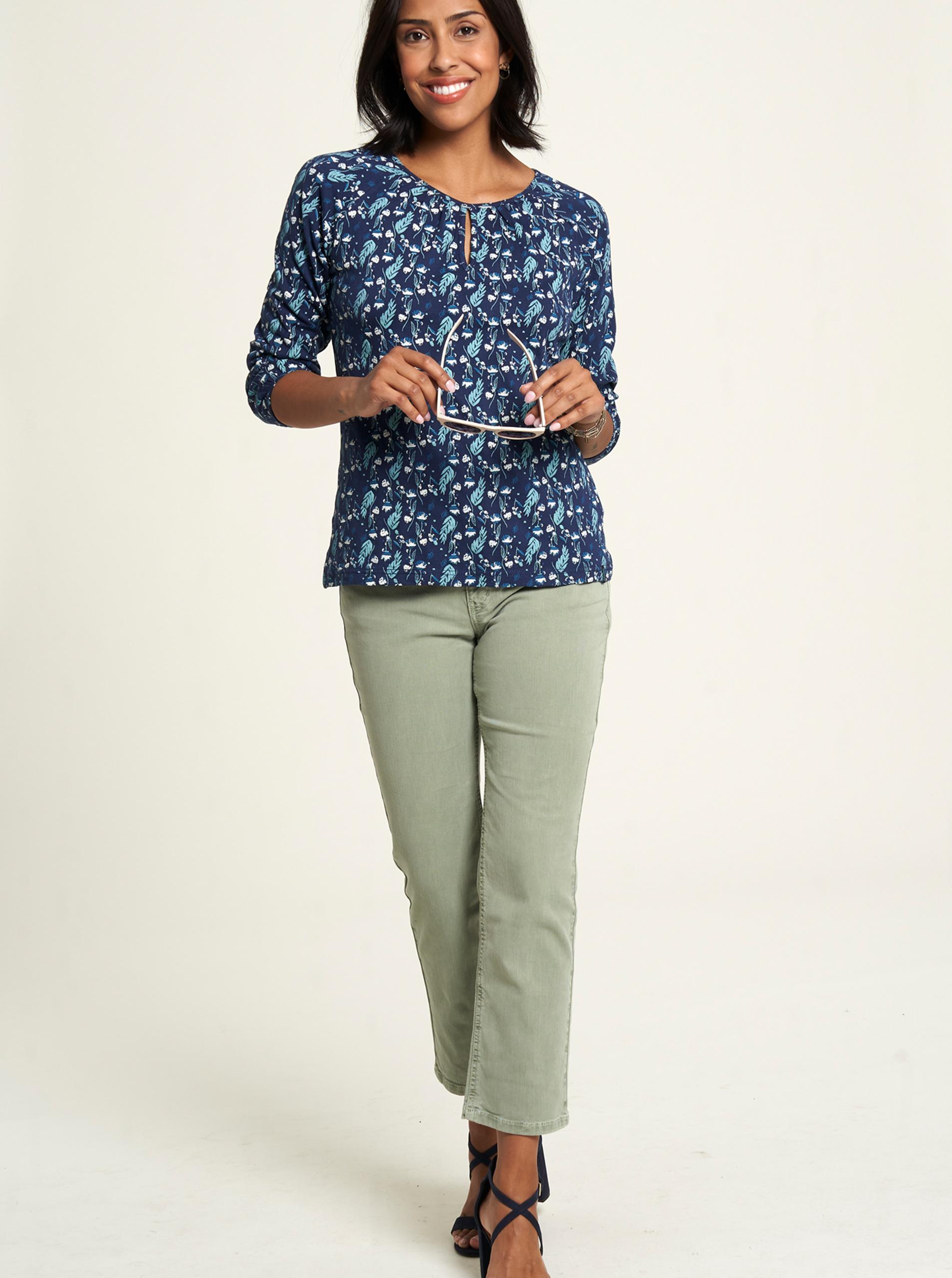 Tranquillo modré tričko s květinovým motivem