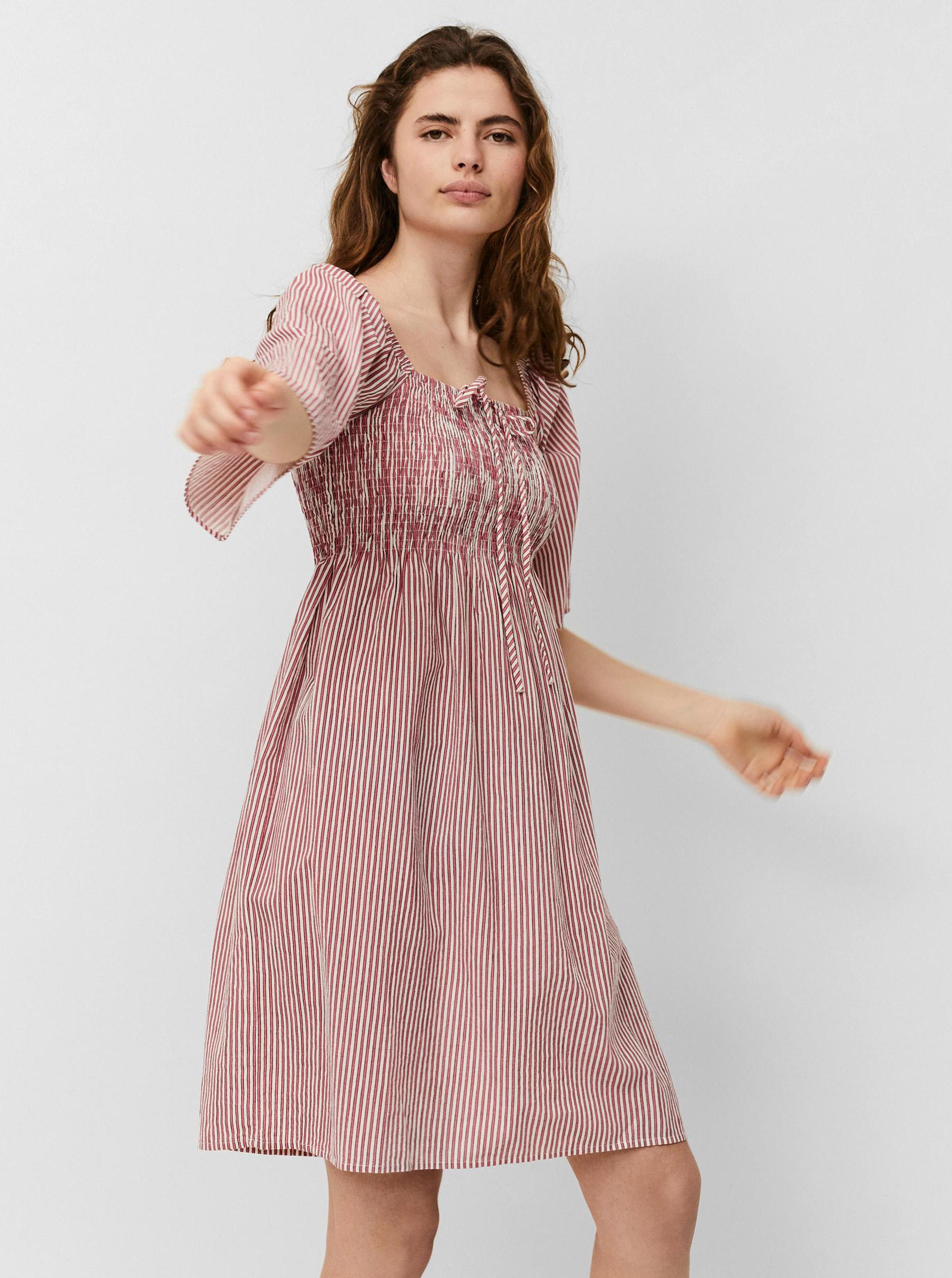 Vero Moda růžové pruhované šaty Anabelle
