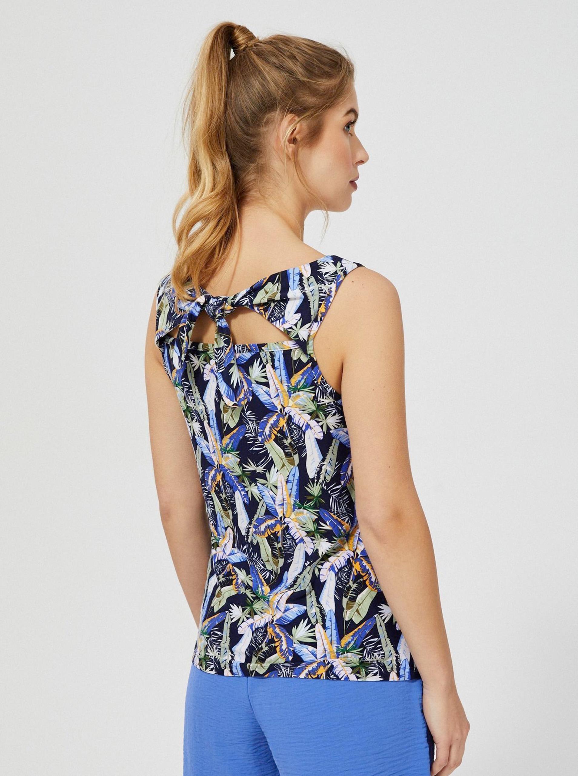 Moodo modré tílko s květinovým motivem