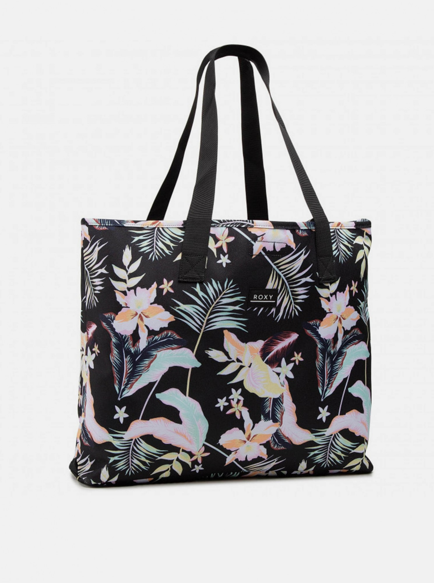 Roxy černá květovaná plážová taška