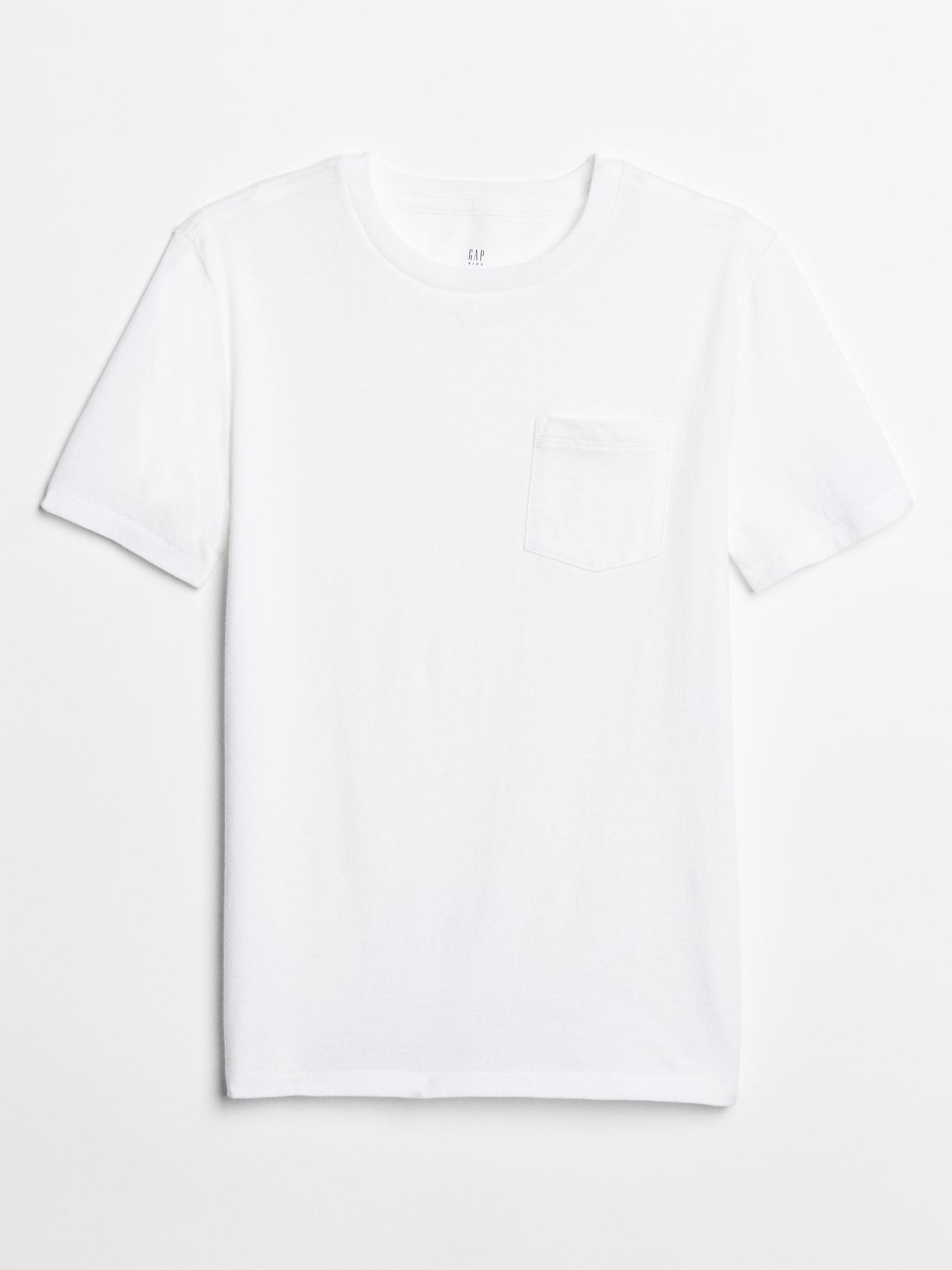 Bílé klučičí dětské tričko crewneck pocket t-shirt GAP