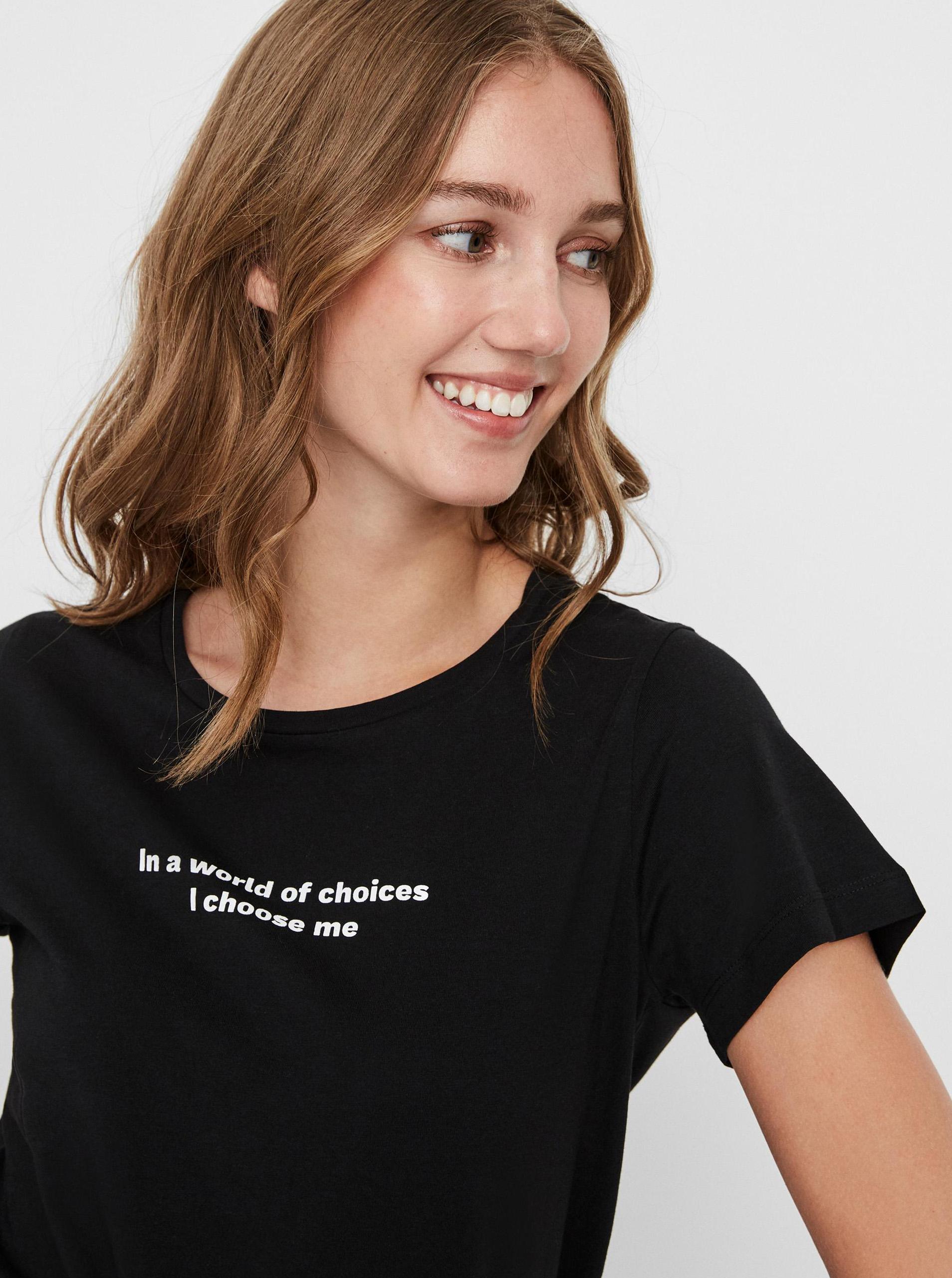Noisy May černé dámské tričko Nate s potiskem