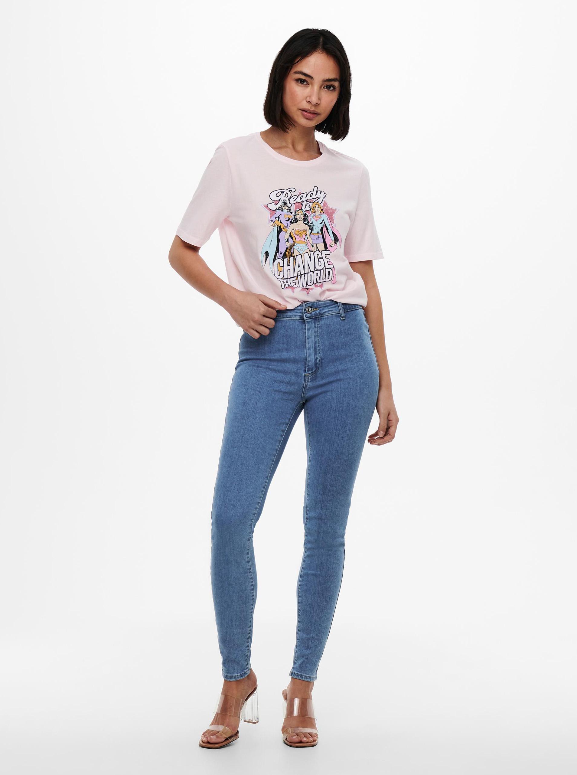 Only světle růžové dámské tričko Justice s potiskem