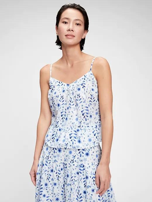 GAP modro-bílý top Peplum Swing s květinovým motivem