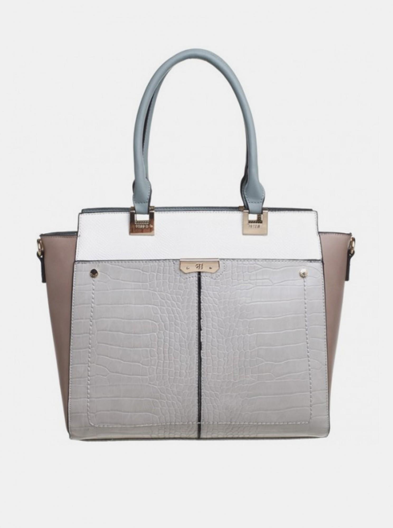 Bessie London šedá kabelka s krokodýlím vzorem