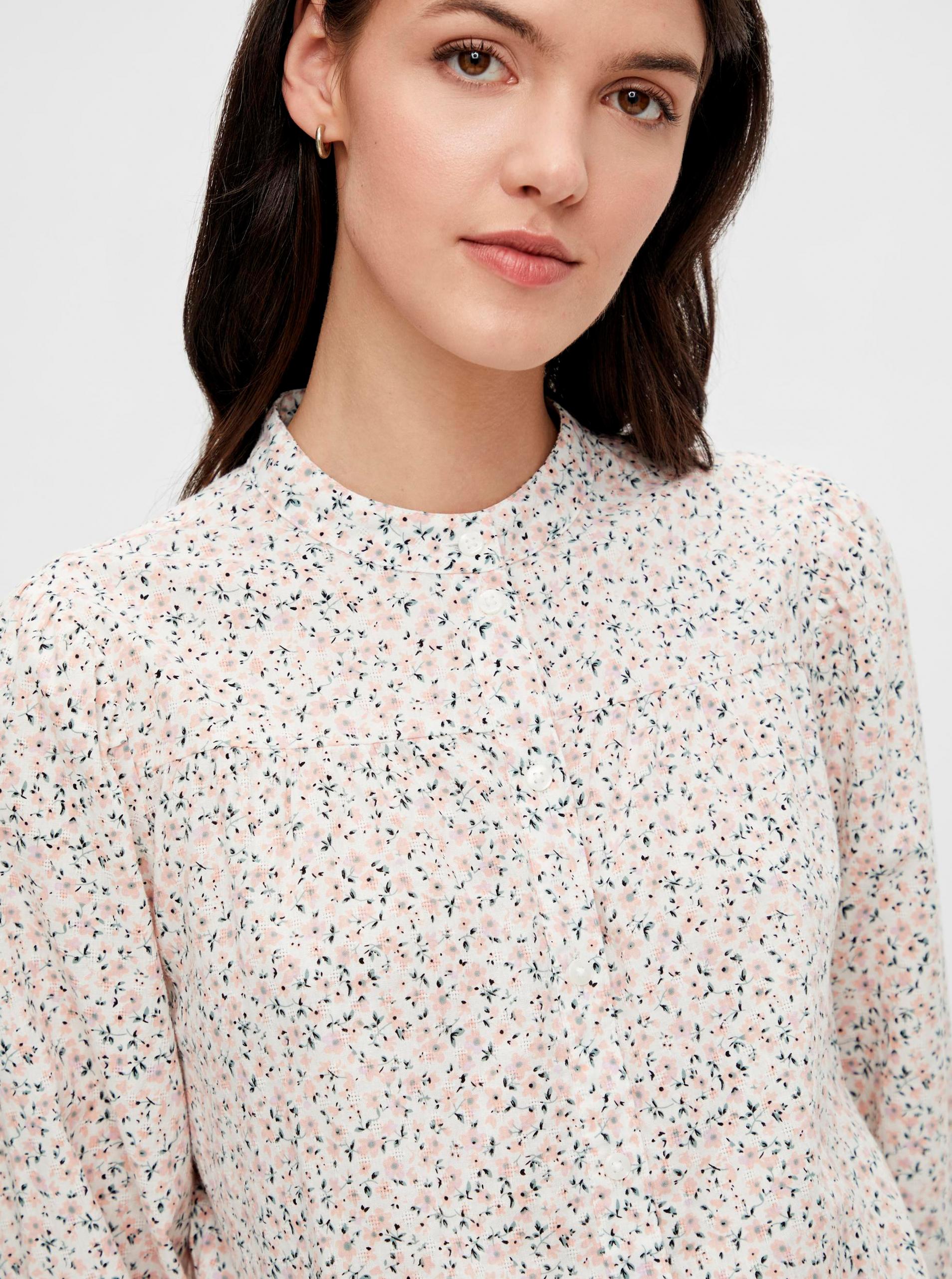 Pieces smetanová vzorovaná košile Lindsey