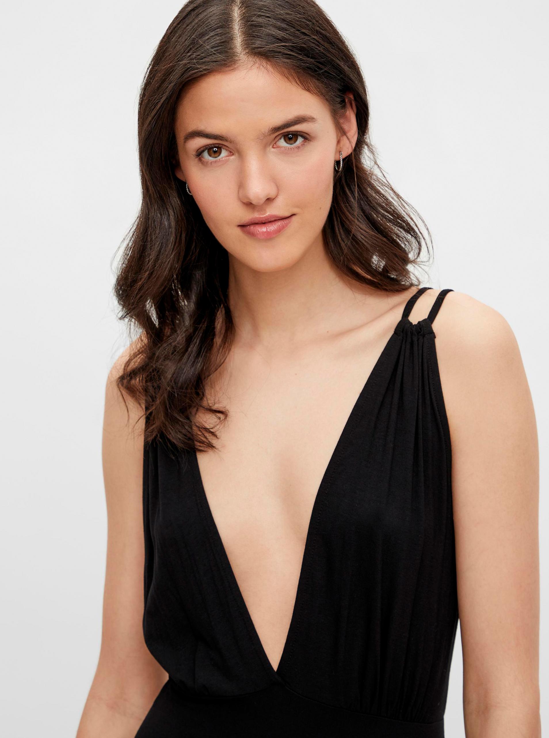 Pieces černé maxi šaty Neora