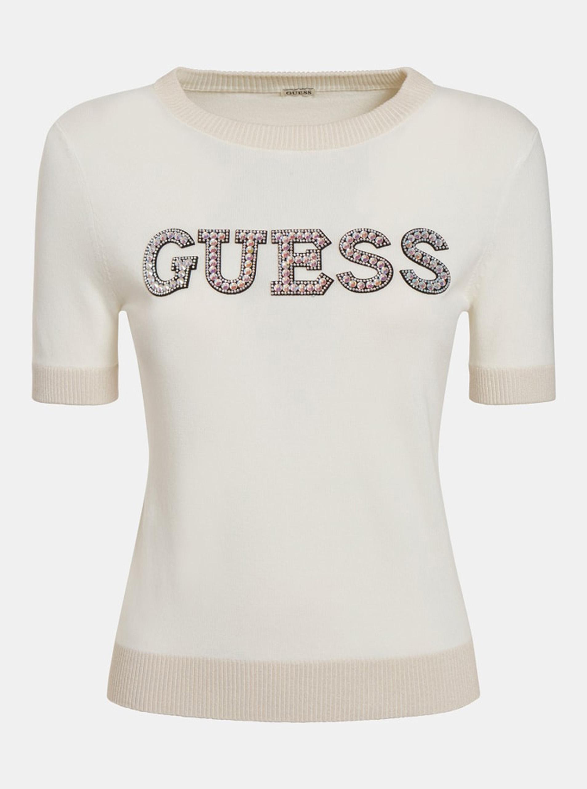 Guess smetanové/krémové tričko Clarisse