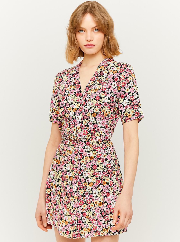 Tally Weijl černo-růžové květované šaty