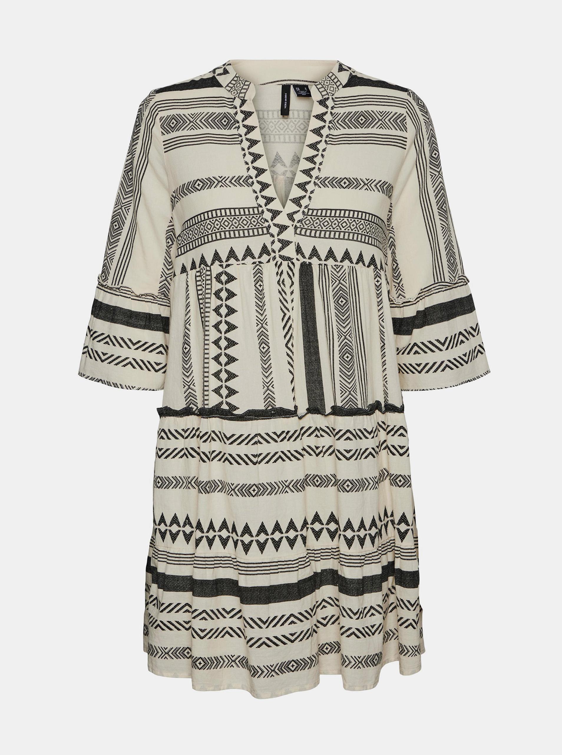 Vero Moda černo-krémové volné šaty Dicthe se vzory