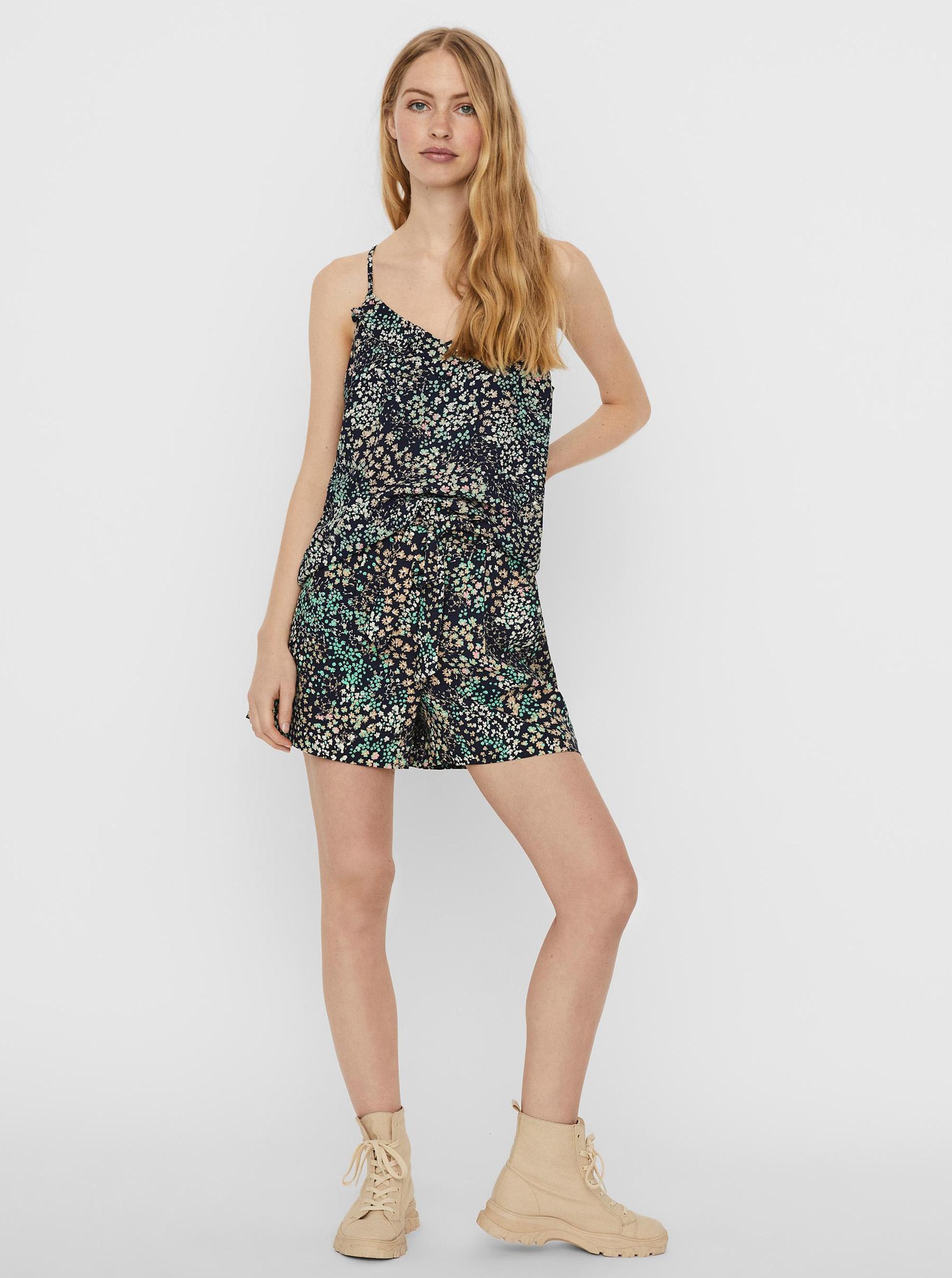 Vero Moda modrý top Hannah s květinovým motivem