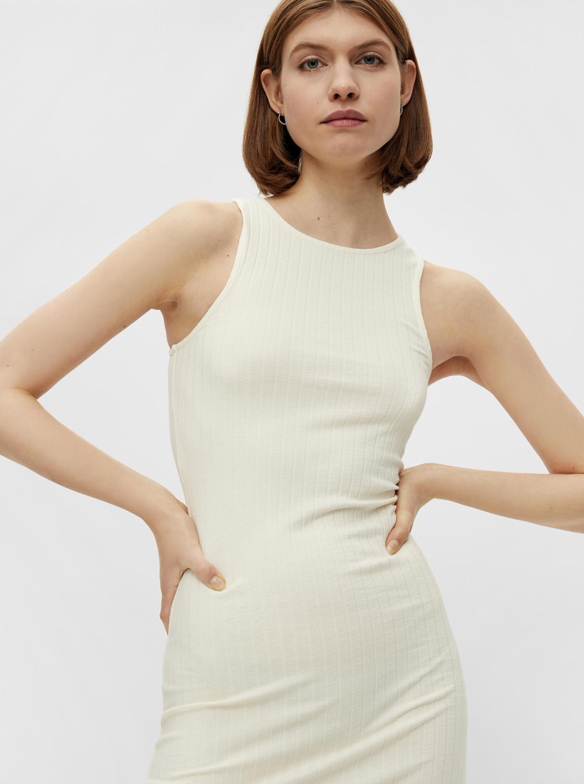 Pieces krémové pouzdrové šaty Tiana