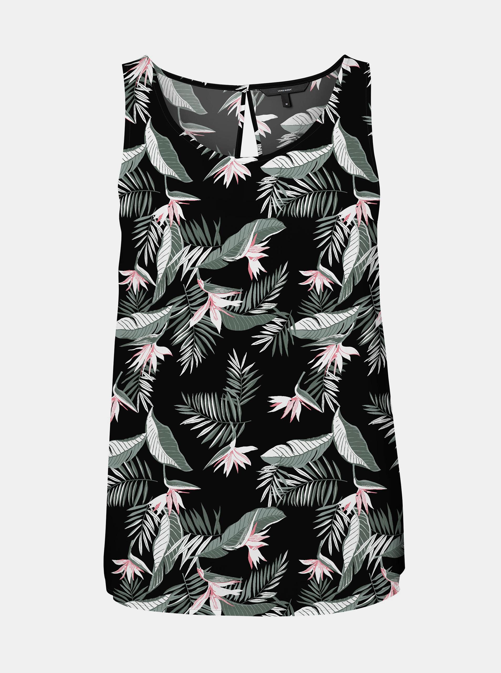 Vero Moda černý top Easy s květinovým motivem