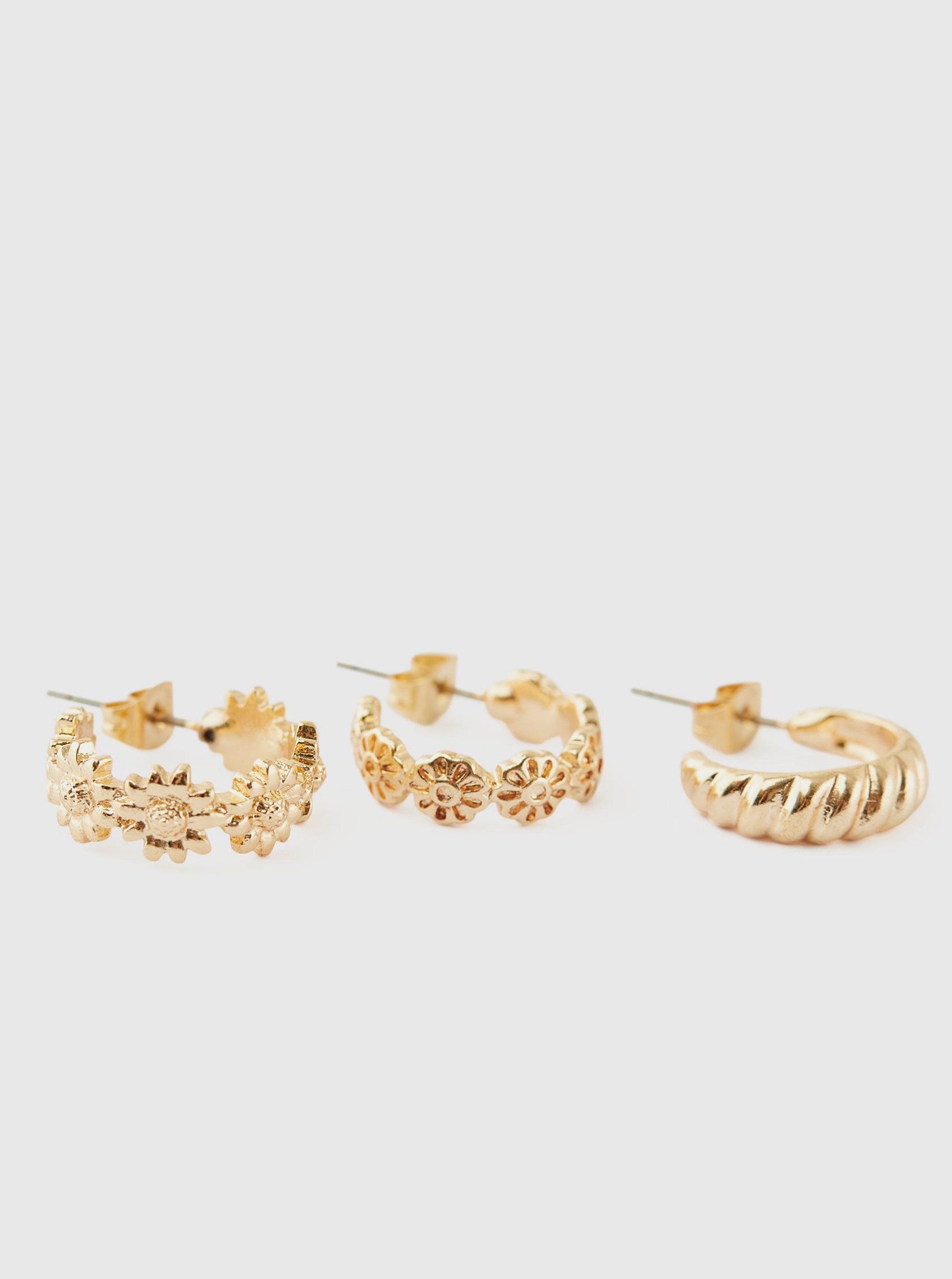 Pieces zlatá sada 3 naušnic Taspri