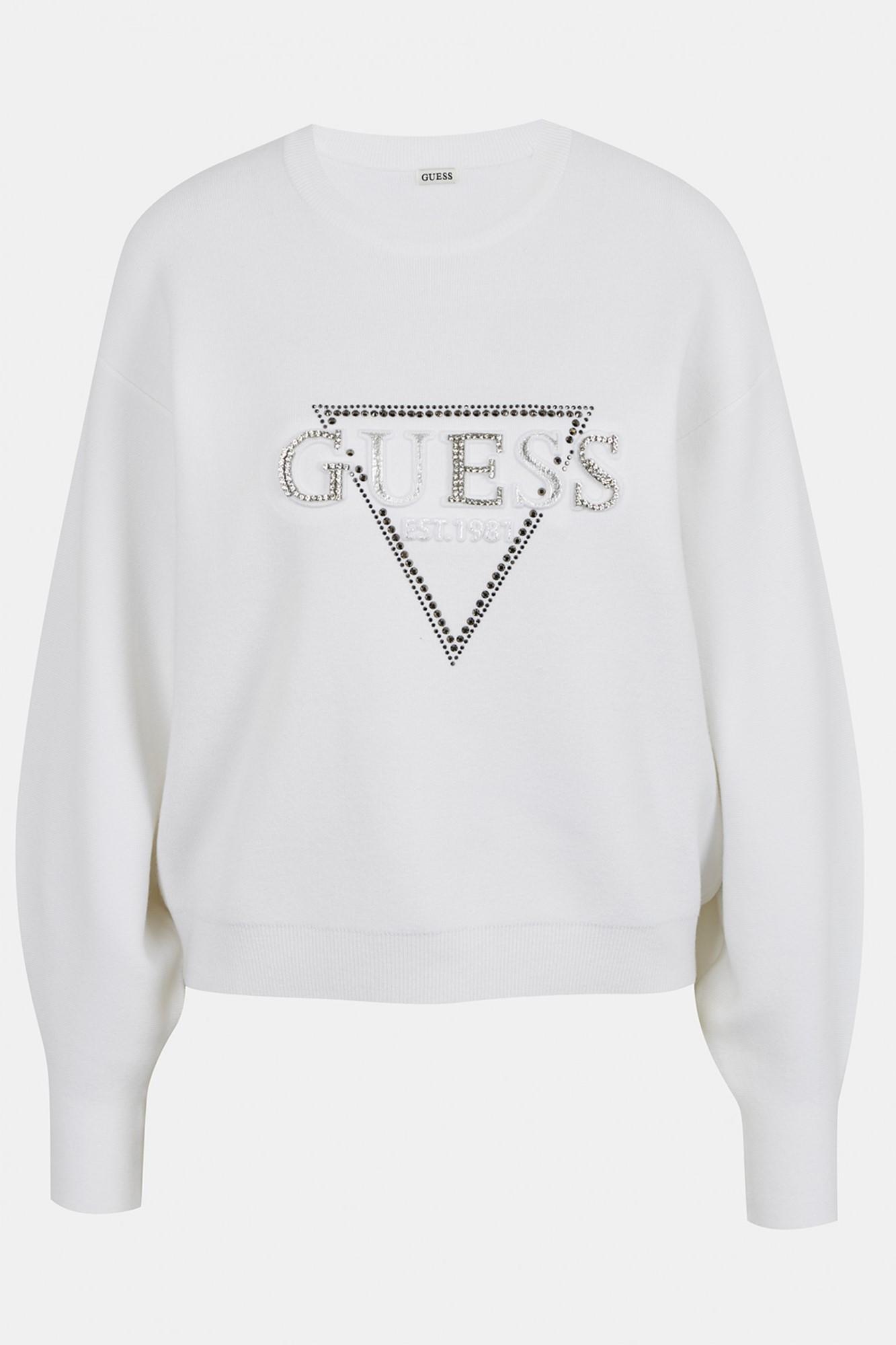Guess bílé svetr Beatrice s logem - XL
