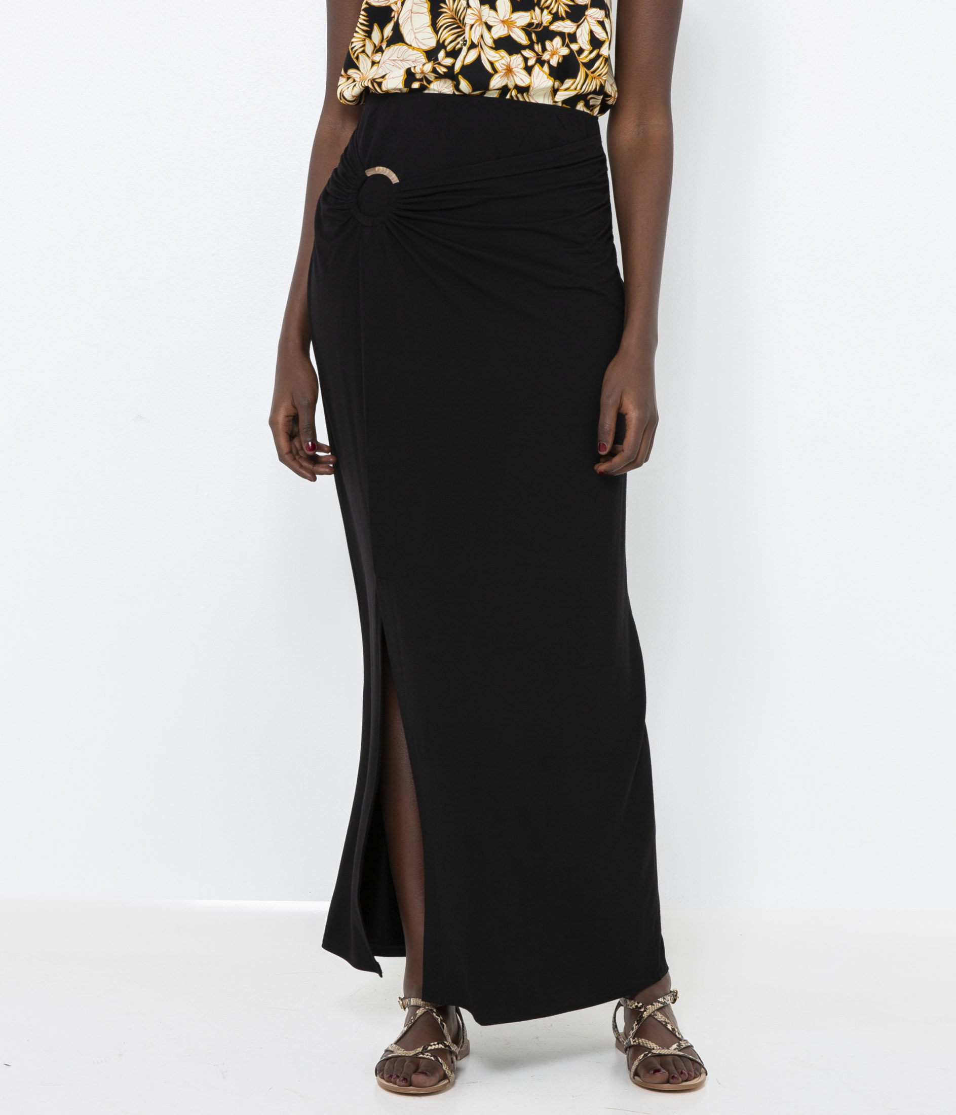 CAMAIEU černé dlouhá sukně - XL