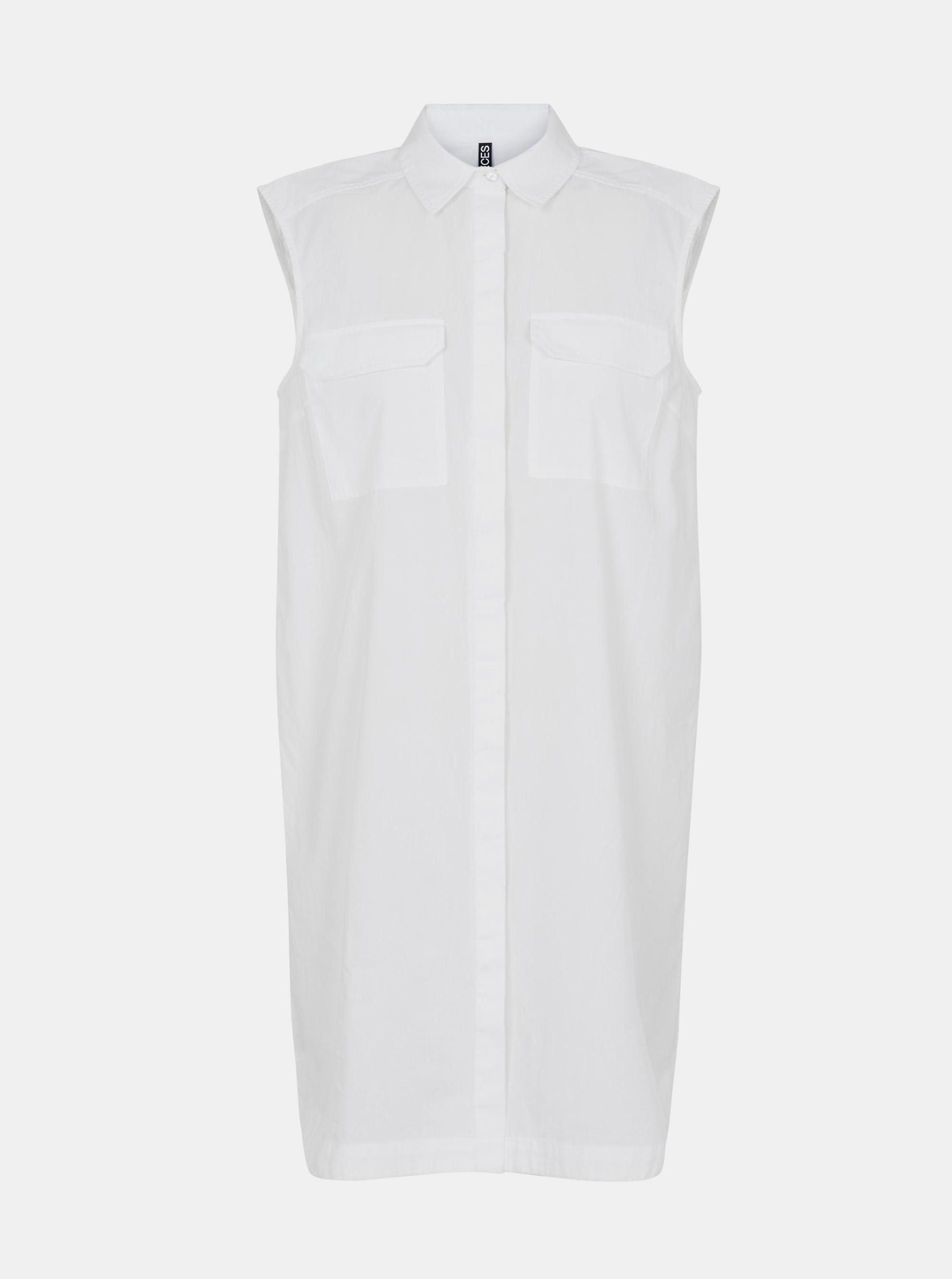 Pieces bílé košilové šaty Margot