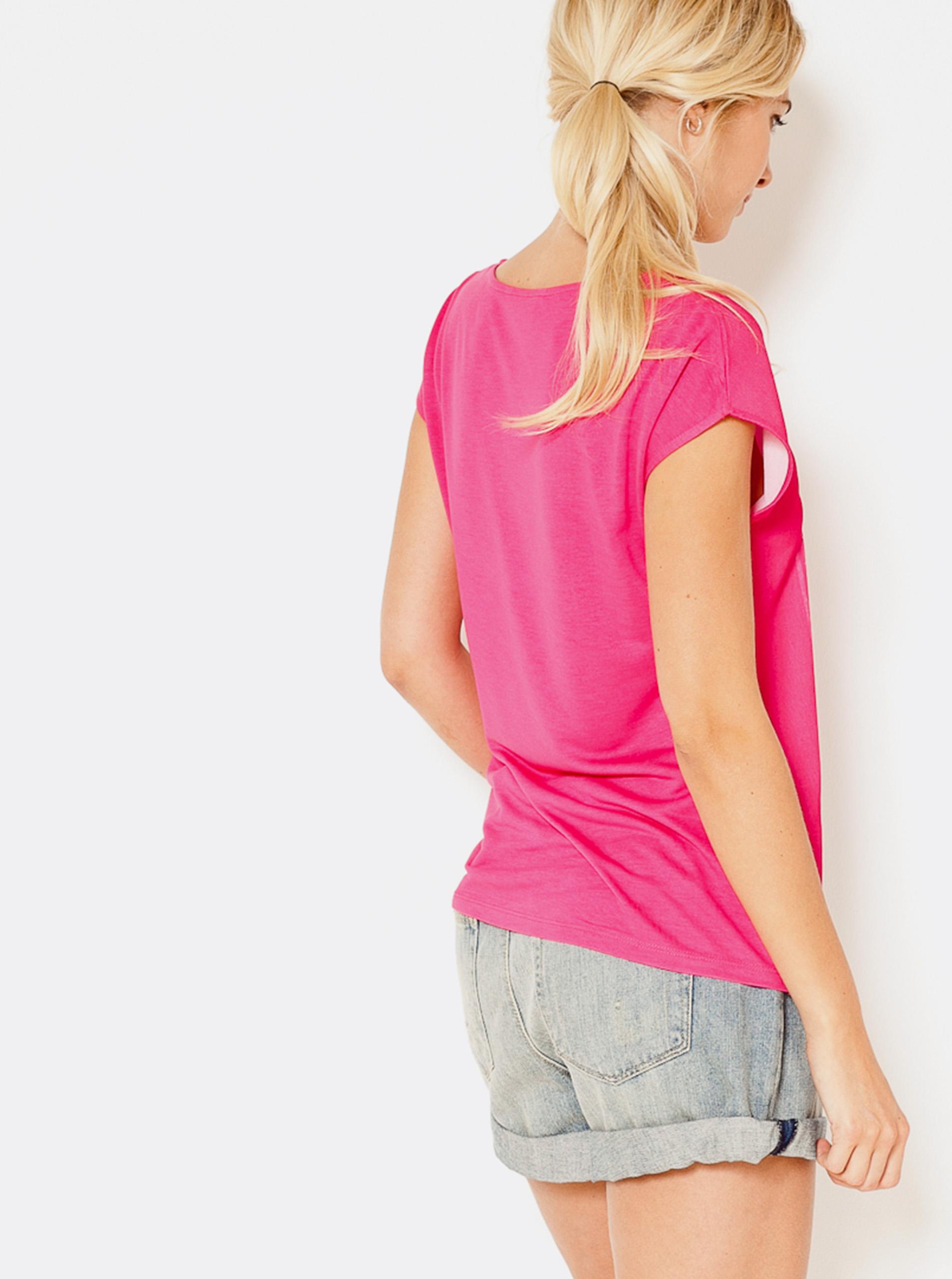 CAMAIEU růžové tričko s potiskem