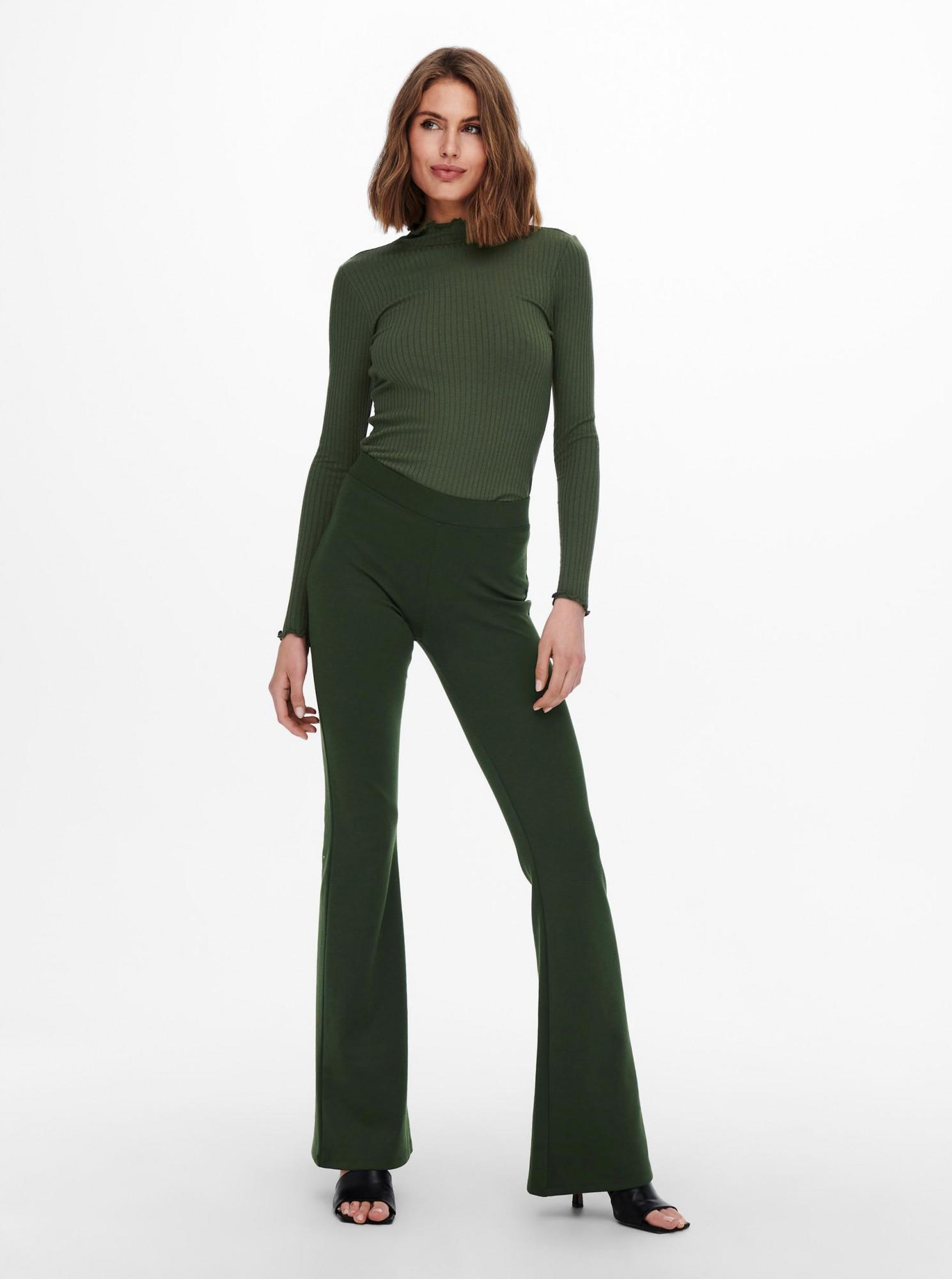 Jacqueline de Yong zelené tričko Fransiska s rolákem