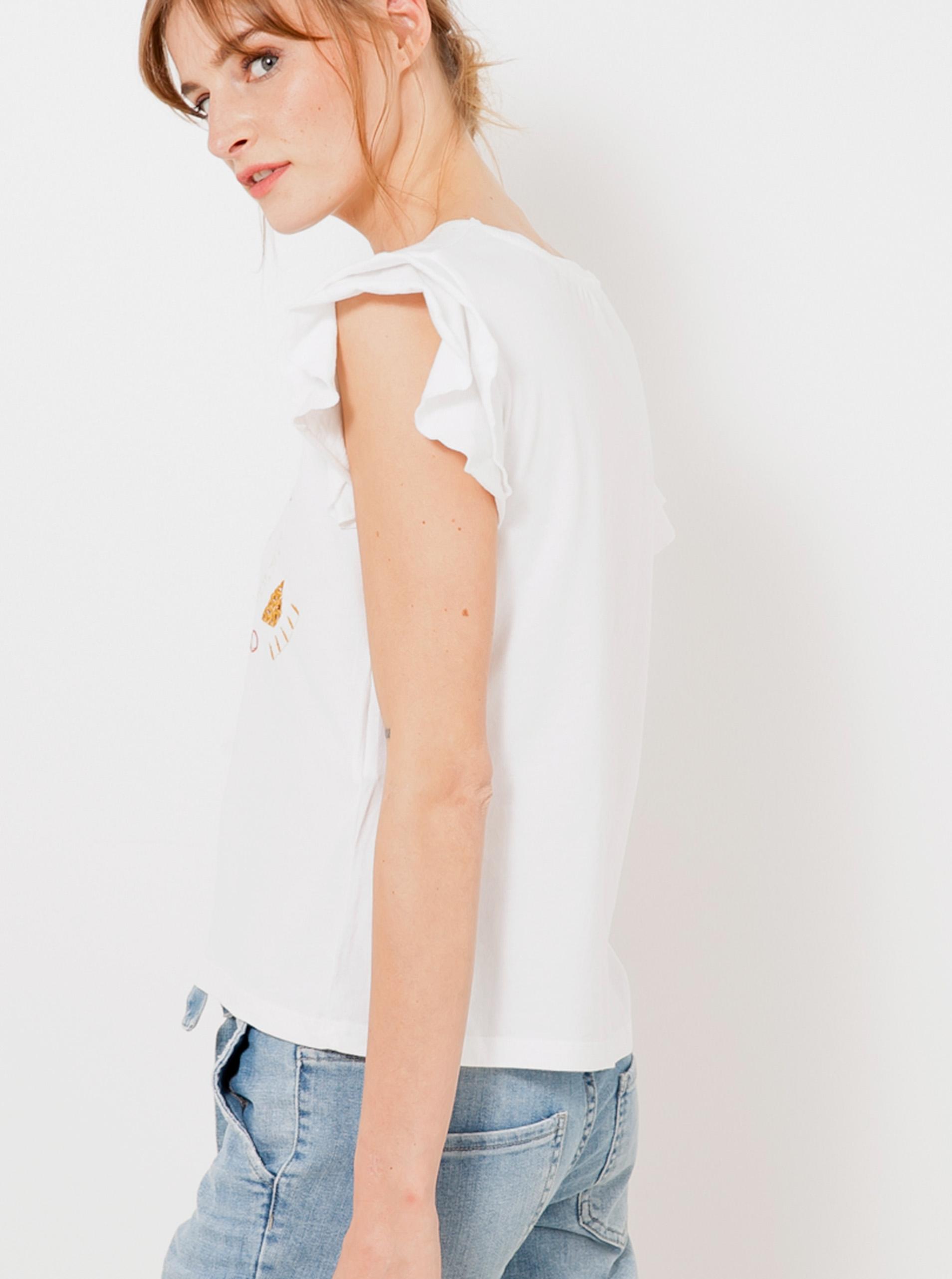 Bílé vzorované tričko CAMAIEU