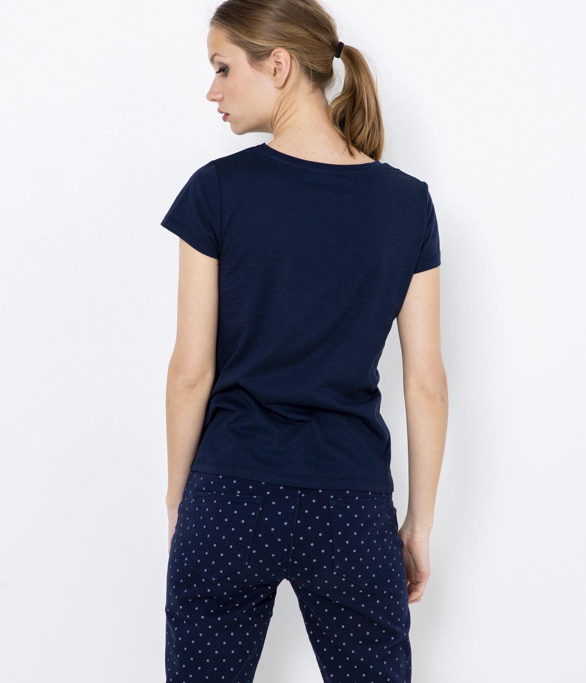 Tmavě modré tričko s potiskem CAMAIEU