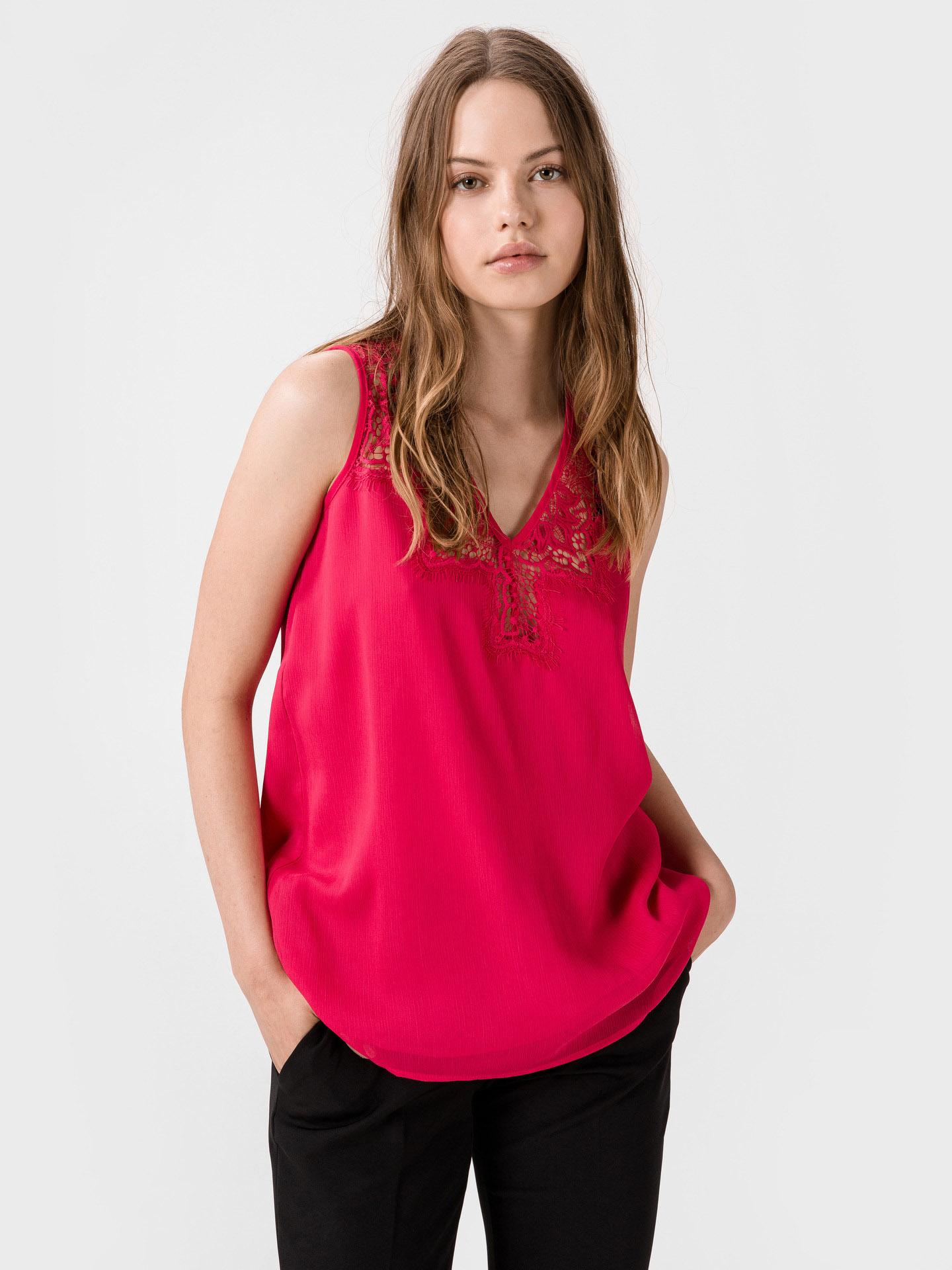 Guess růžové top Mariam s krajkou