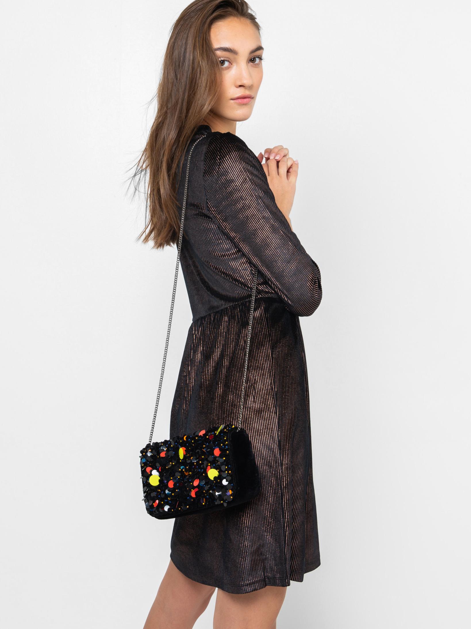 Černá kabelka s flitry CAMAIEU