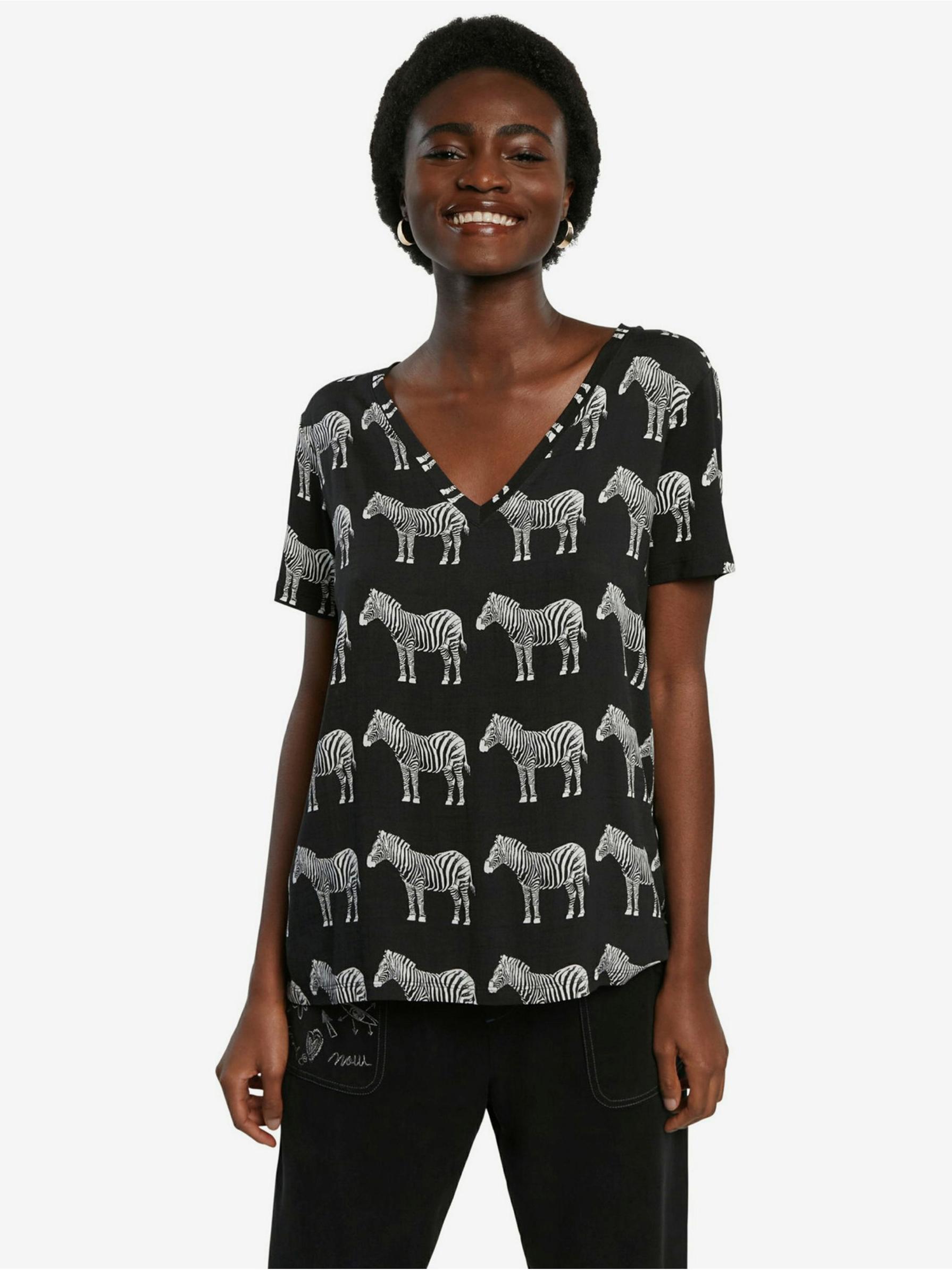 Desigual černé tričko Bokan