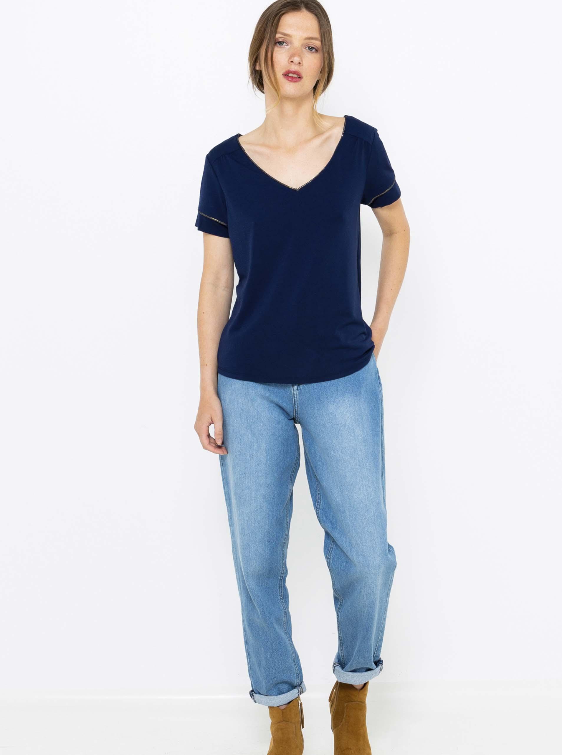 CAMAIEU modré dámské tričko