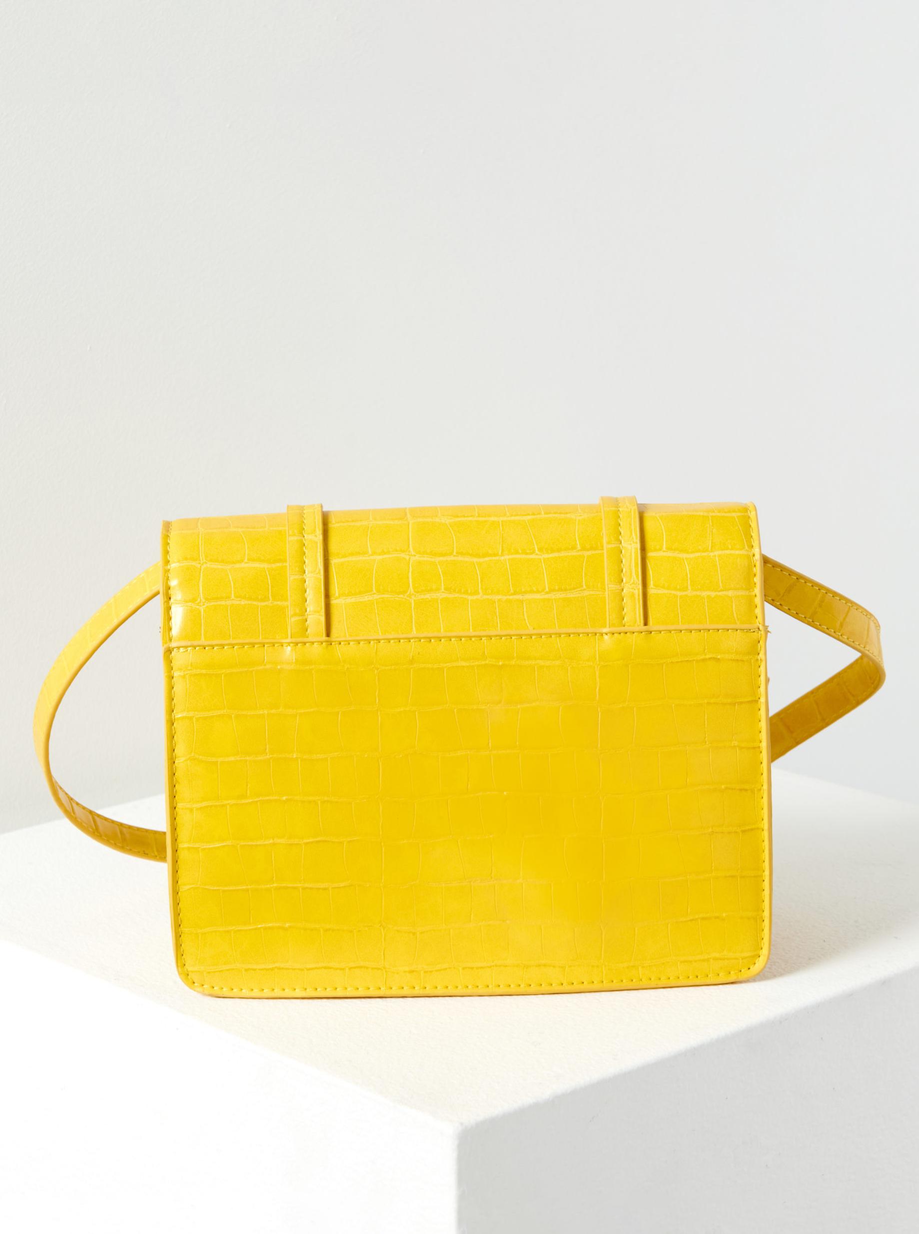 Žlutá crossbody kabelka s krokodýlím vzorem CAMAIEU