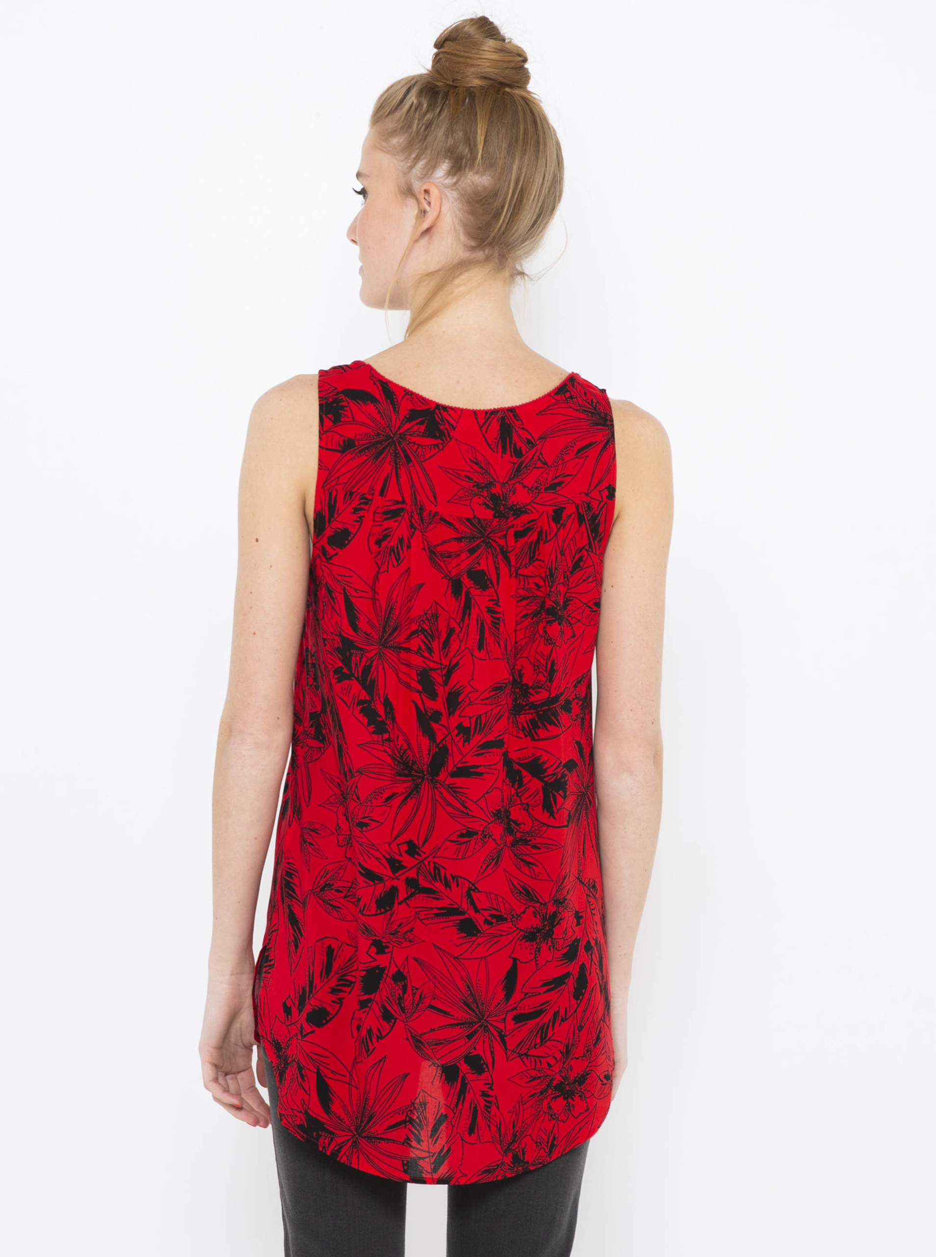 CAMAIEU červené top s květinovým motivem