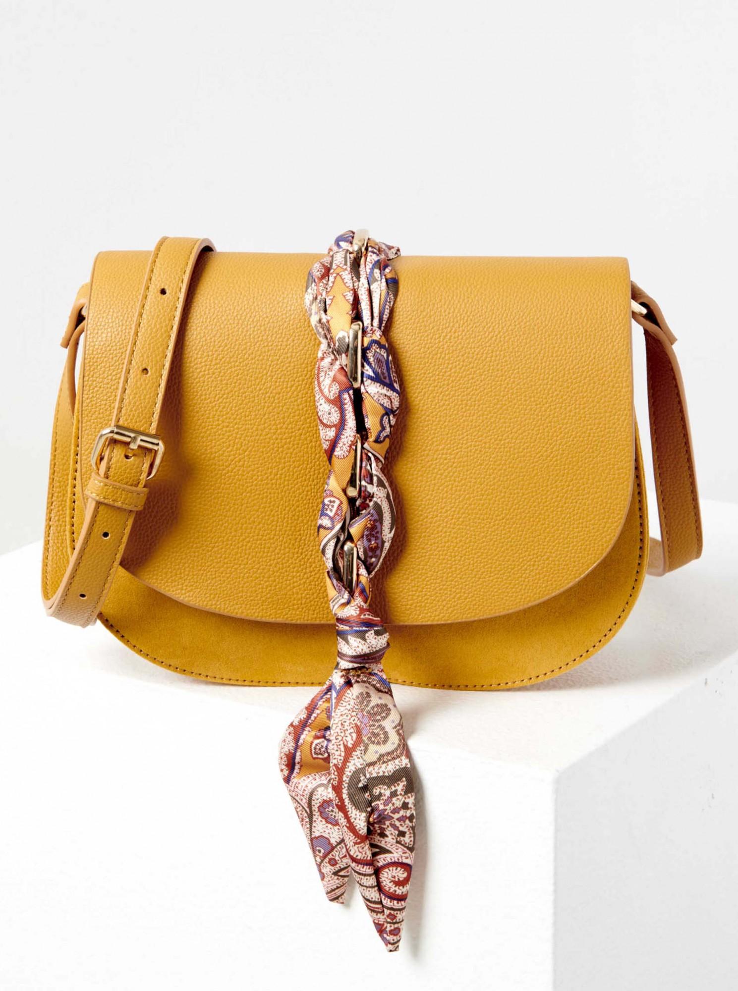 Žlutá crossbody kabelka s šátkem CAMAIEU