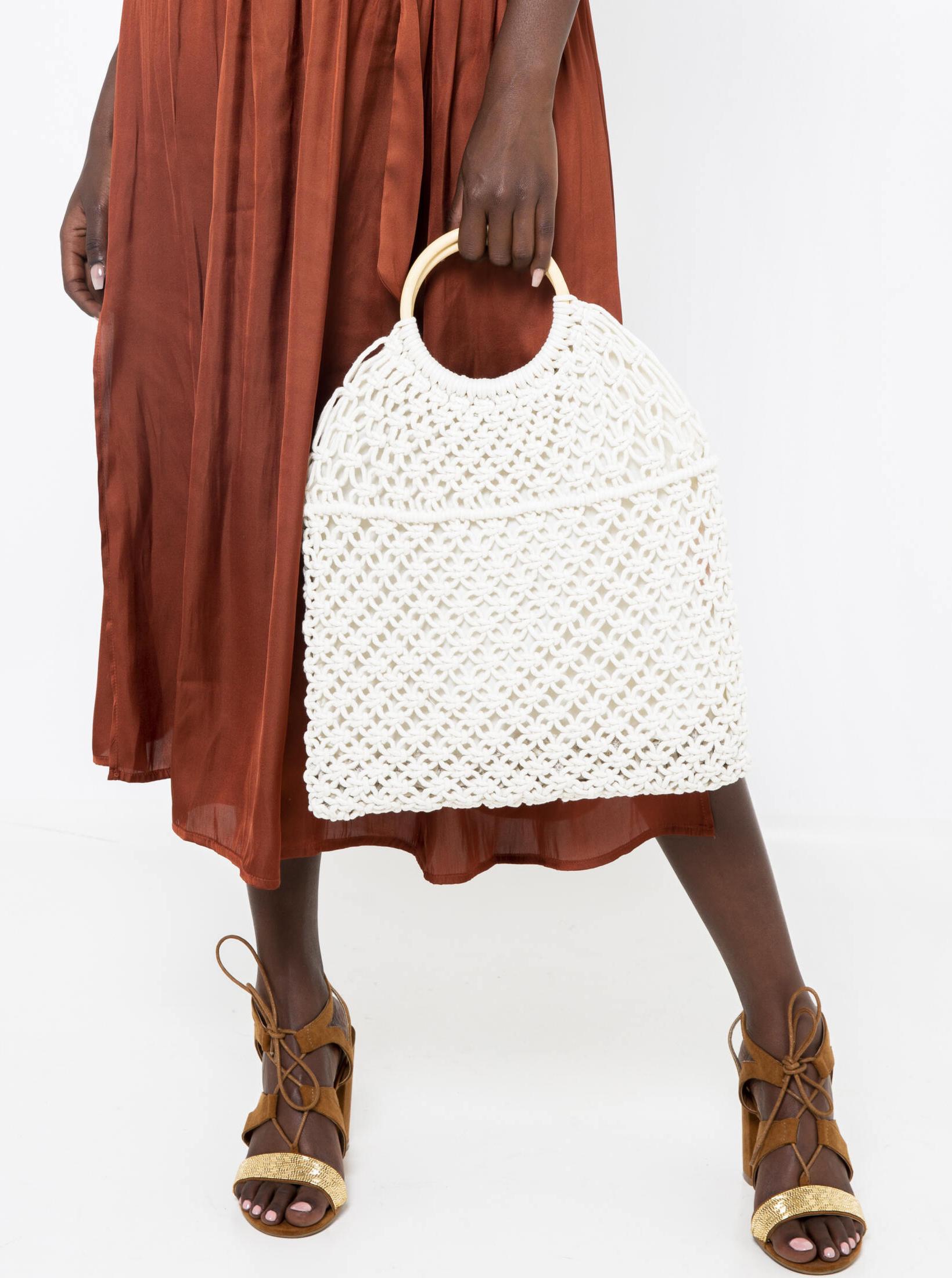 Bílá háčkovaná kabelka CAMAIEU