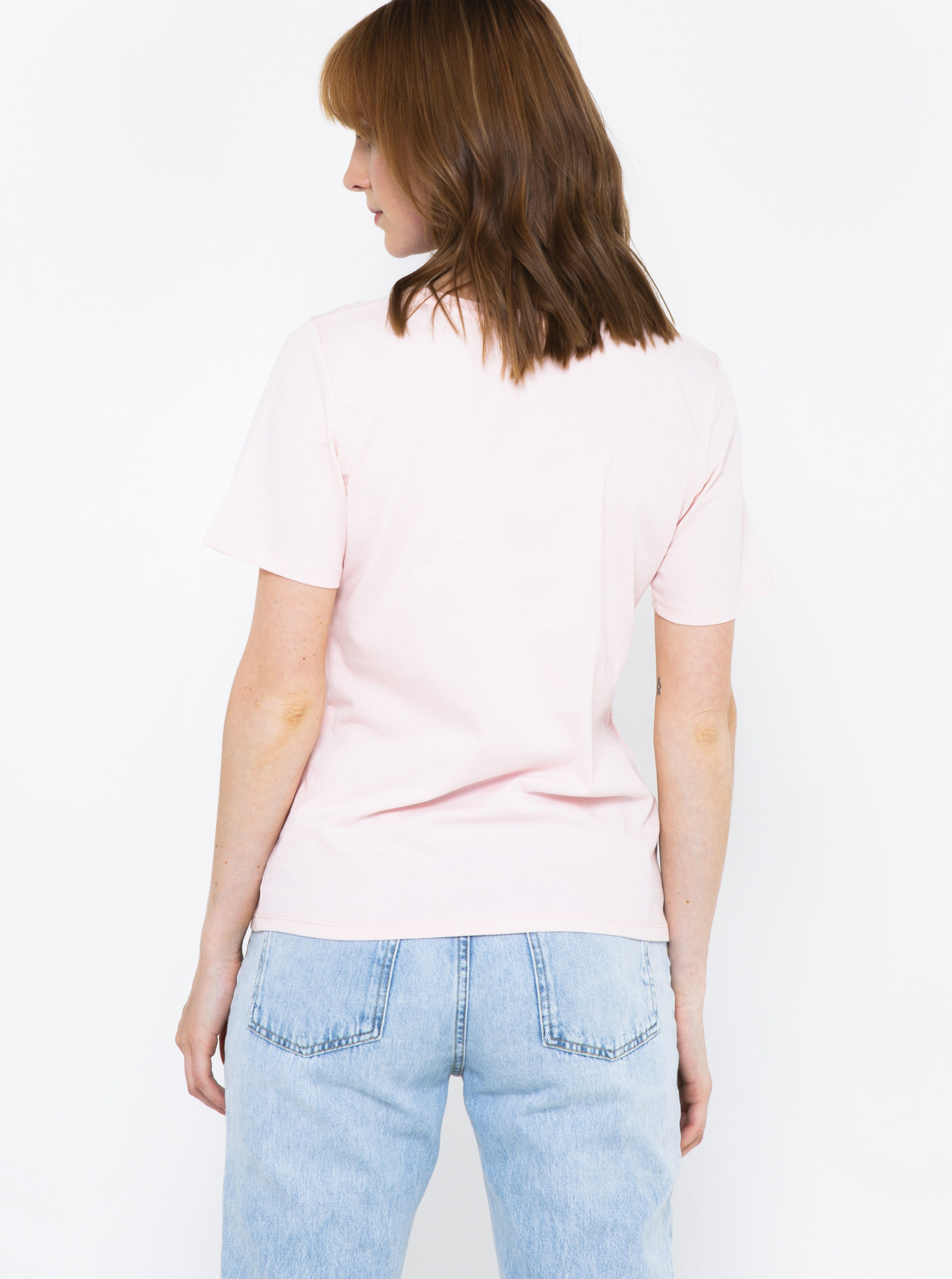 CAMAIEU pudrové tričko s potiskem