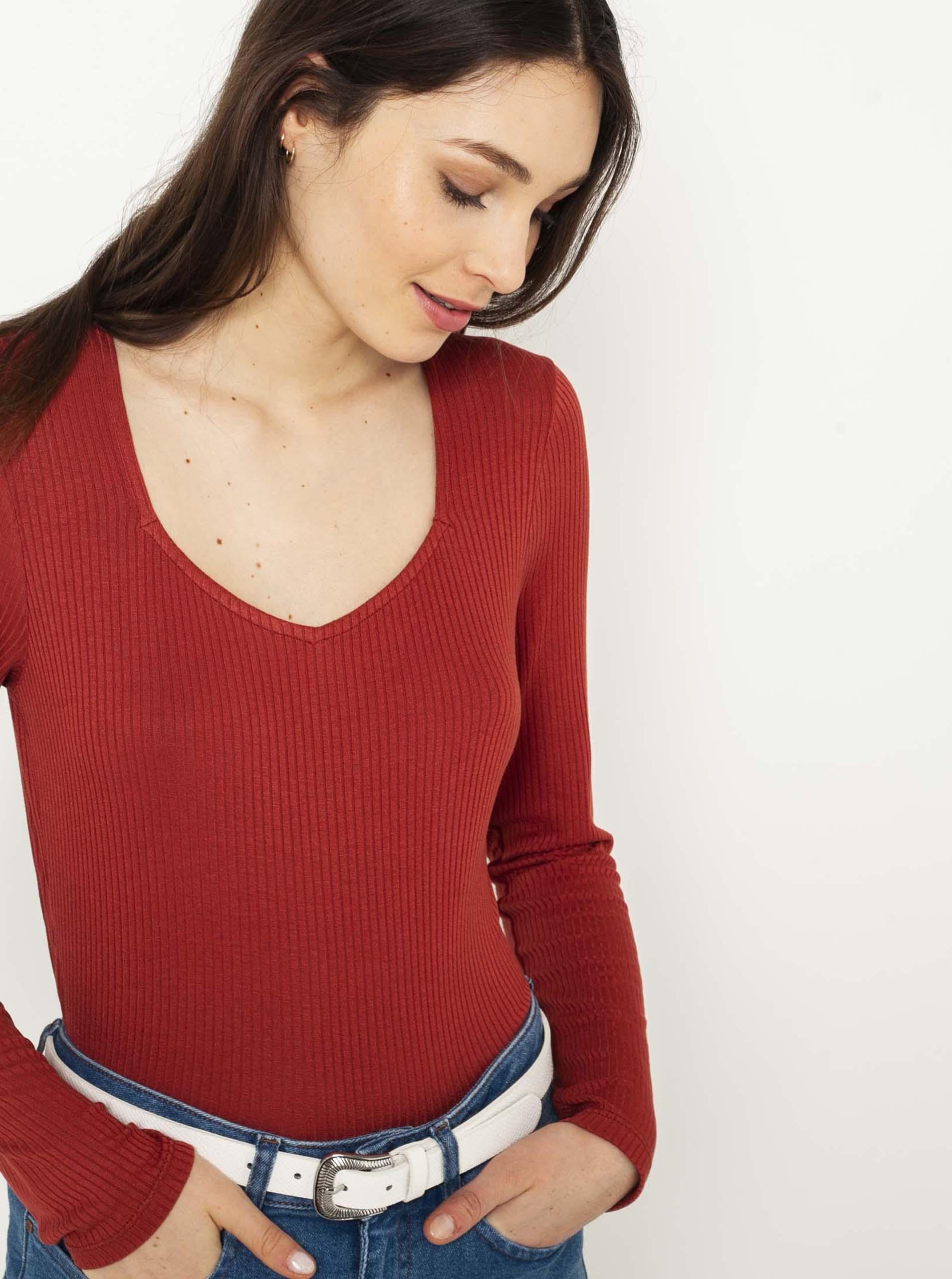 CAMAIEU červené dámské tričko