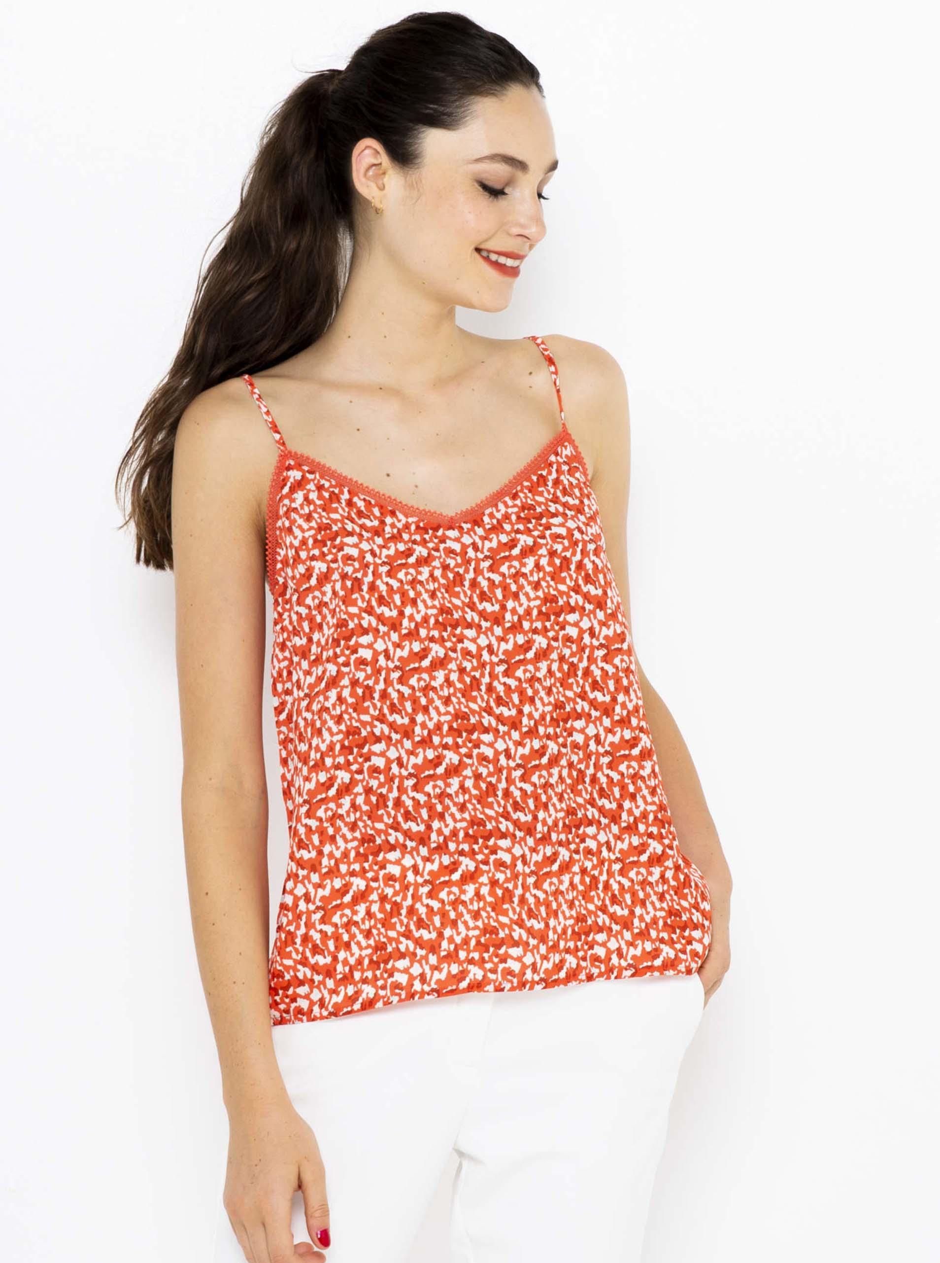 CAMAIEU oranžové dámský top se vzorem