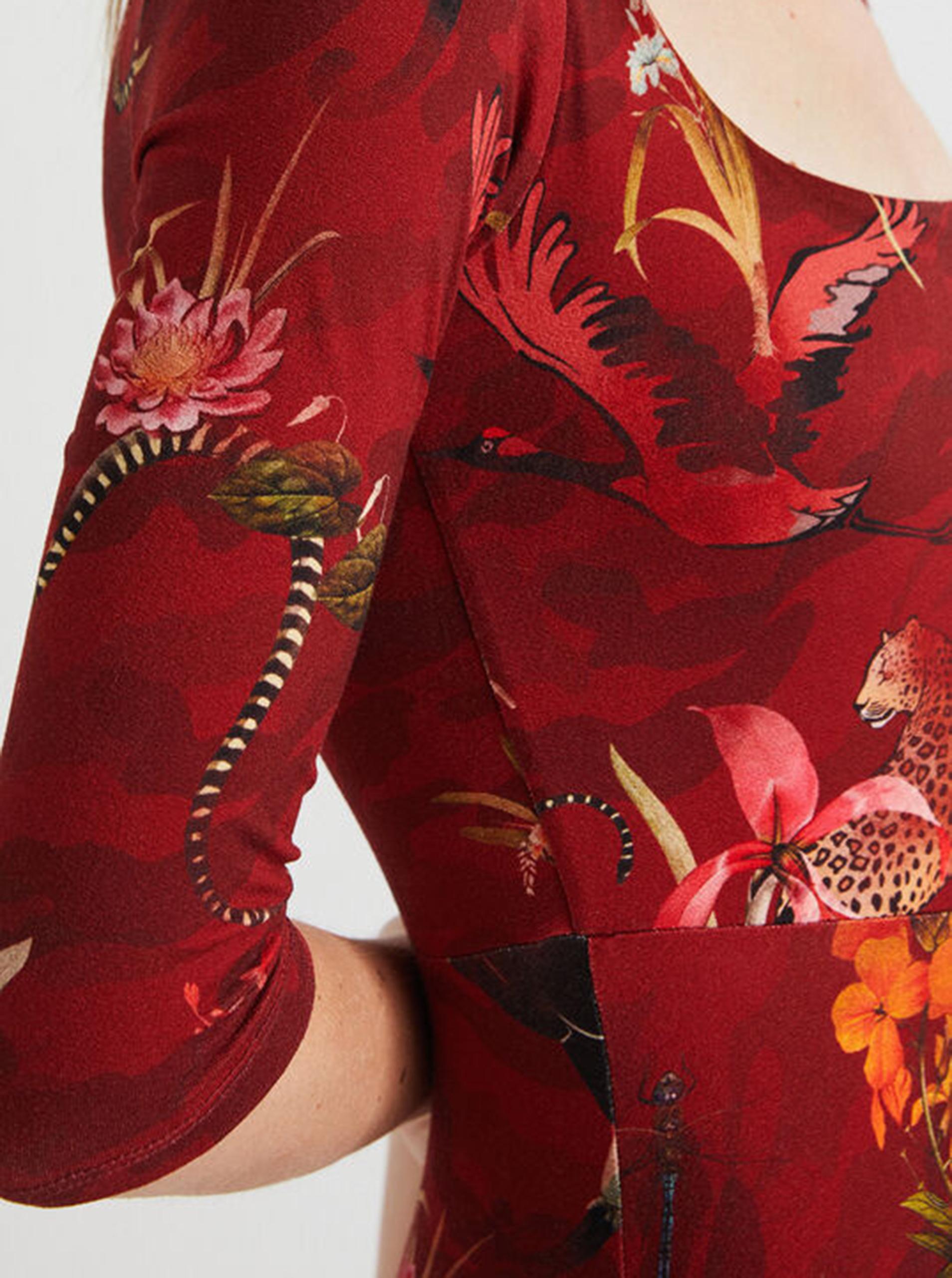 Desigual červené midi šaty Flowers Qais