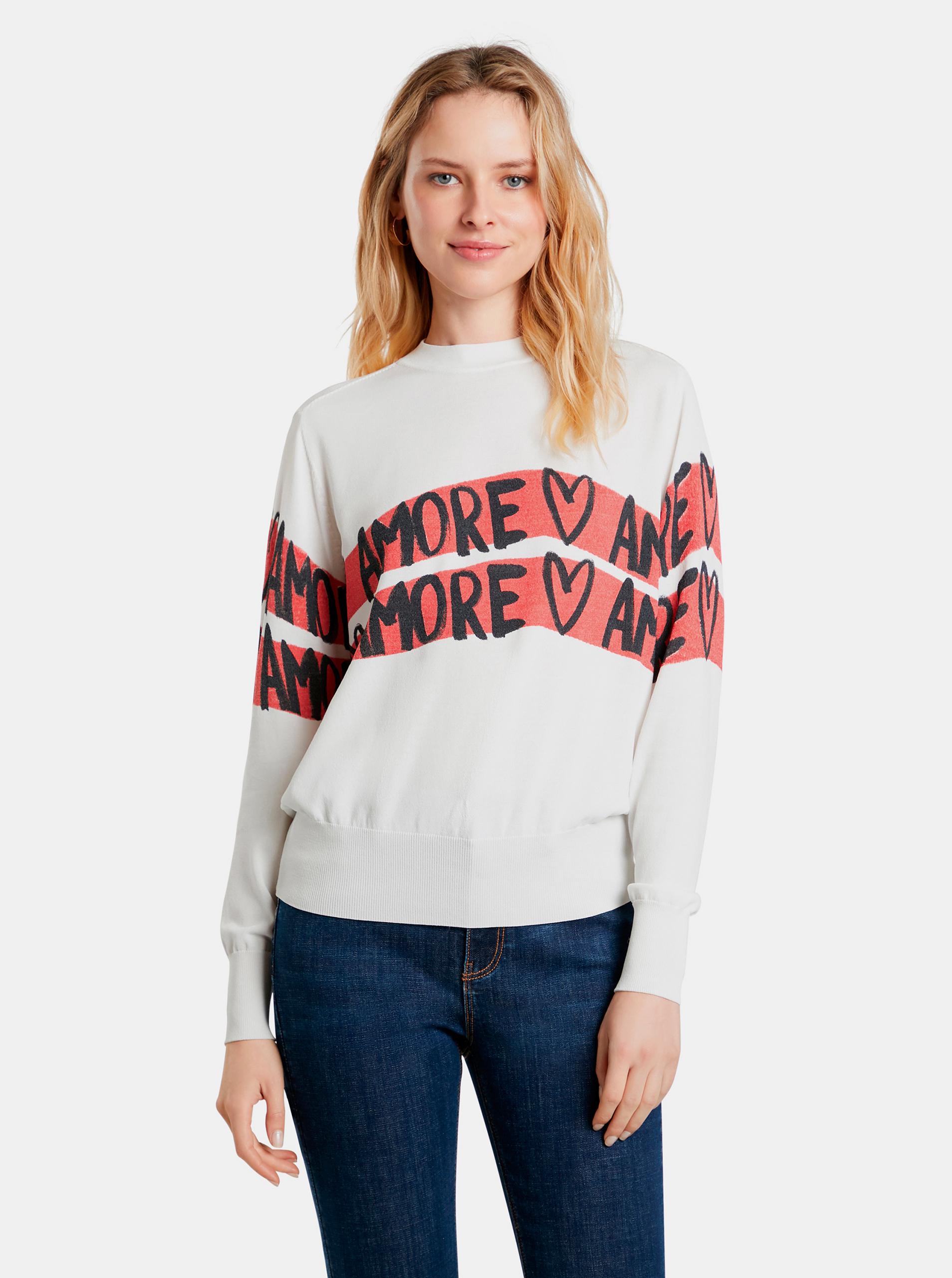 Desigual bílé svetr Amore Amore - L