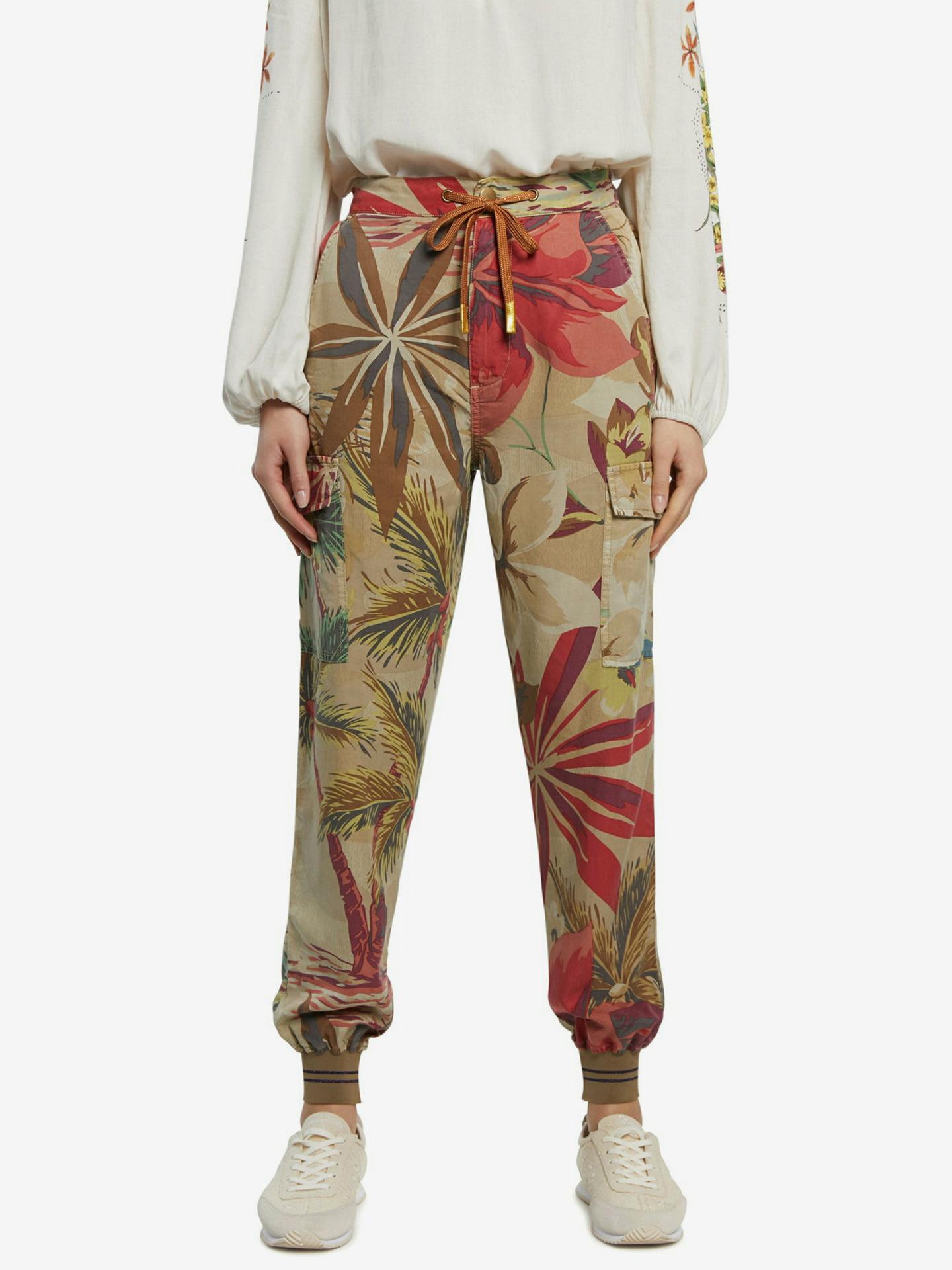 Desigual kalhoty Touche s tropickými motivy - S