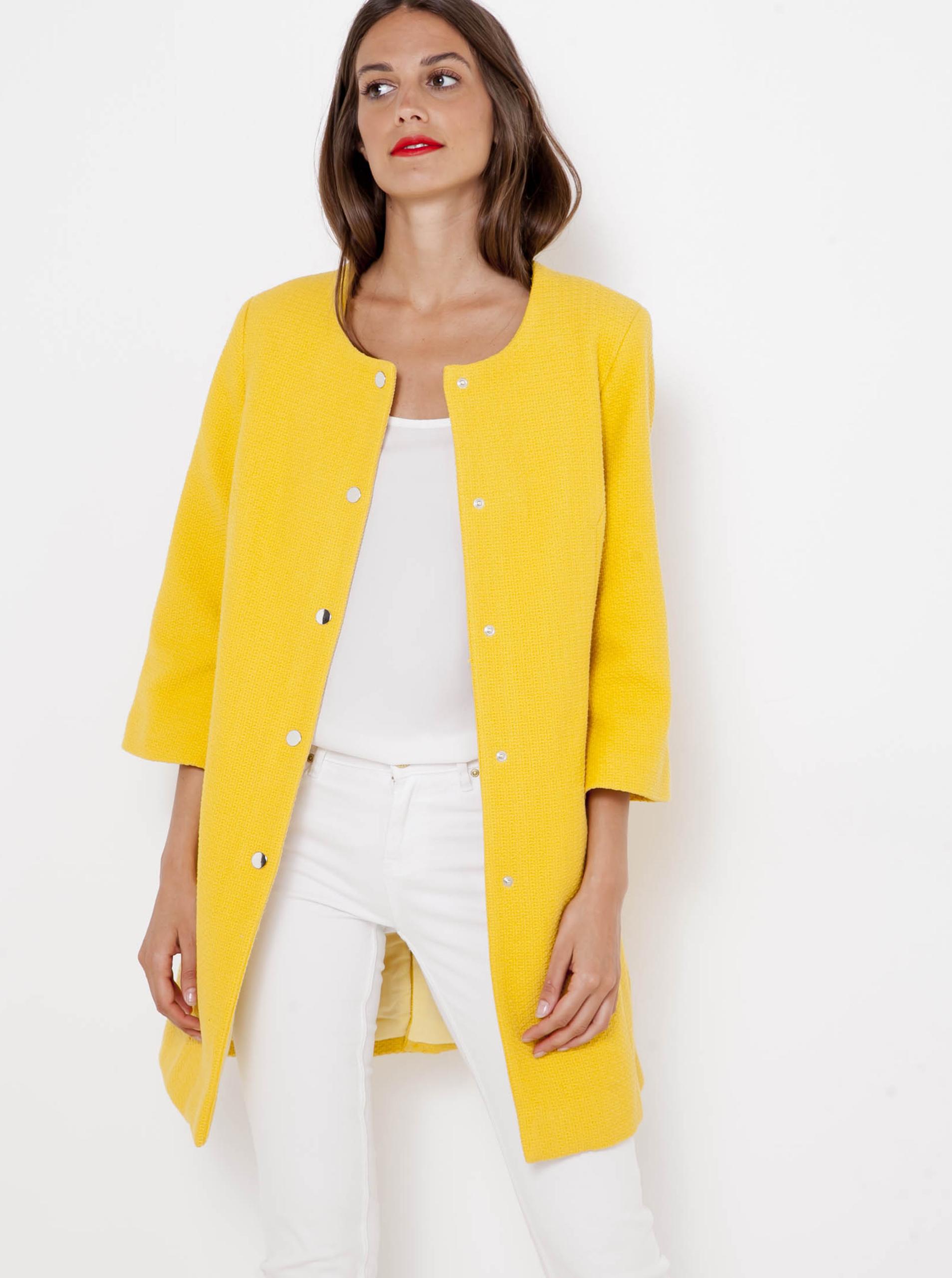 Žlutý kabátek s tříčtvrtečním rukávem CAMAIEU - XXL