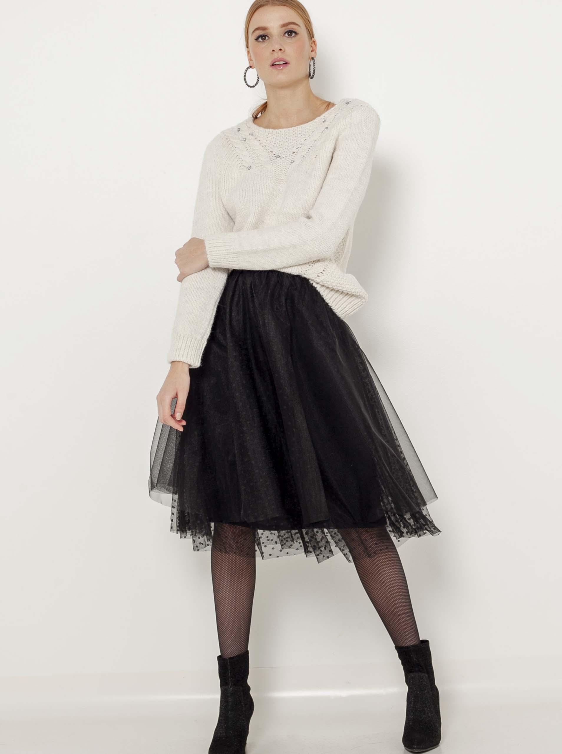 Černá puntíkovaná tylová sukně CAMAIEU - M