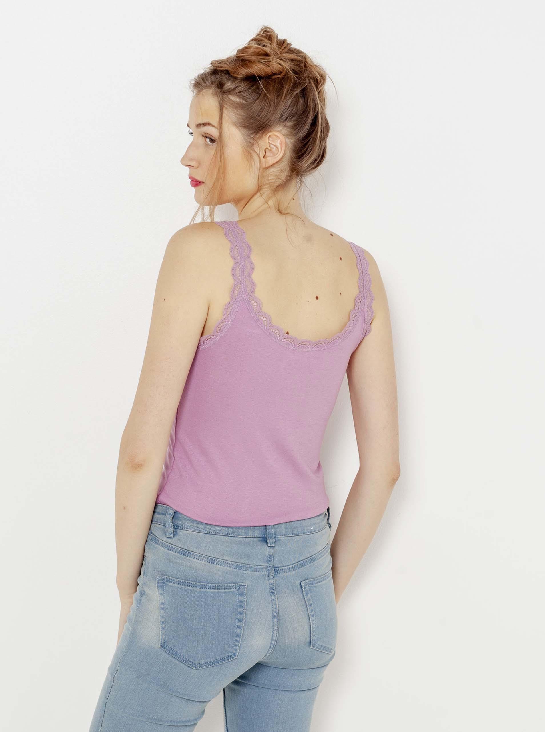 CAMAIEU fialové dámské tílko s krajkou