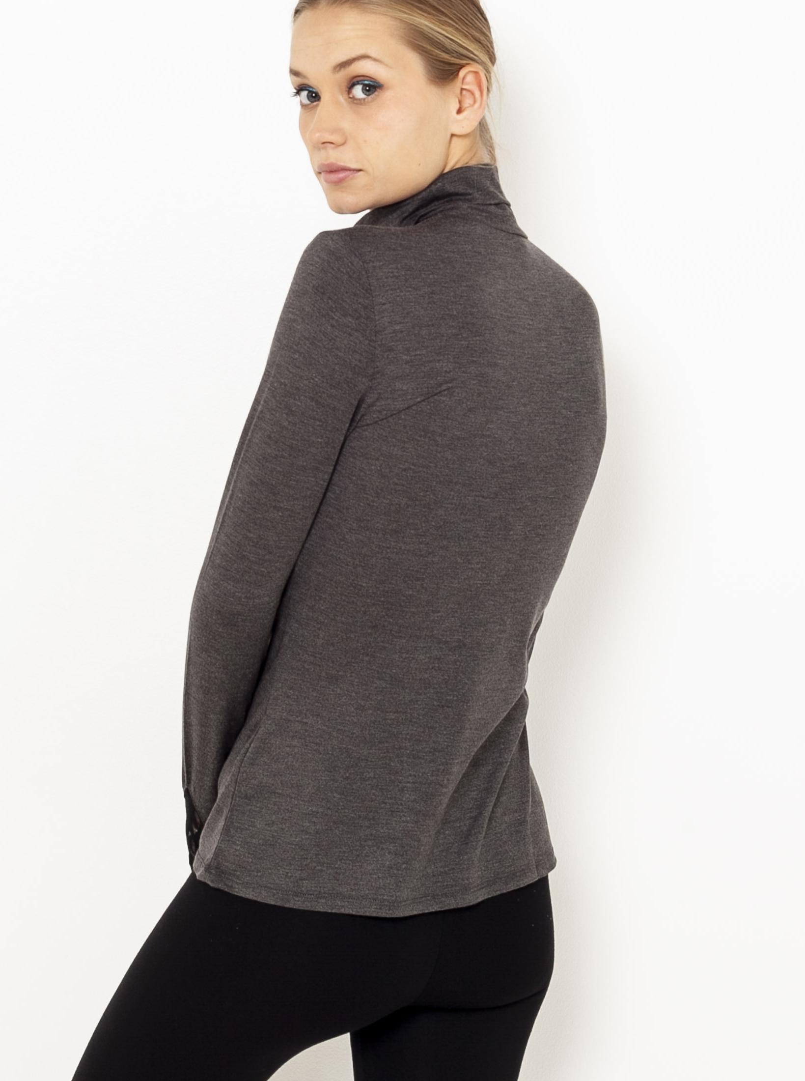 CAMAIEU šedé dámské tričko s krajkou