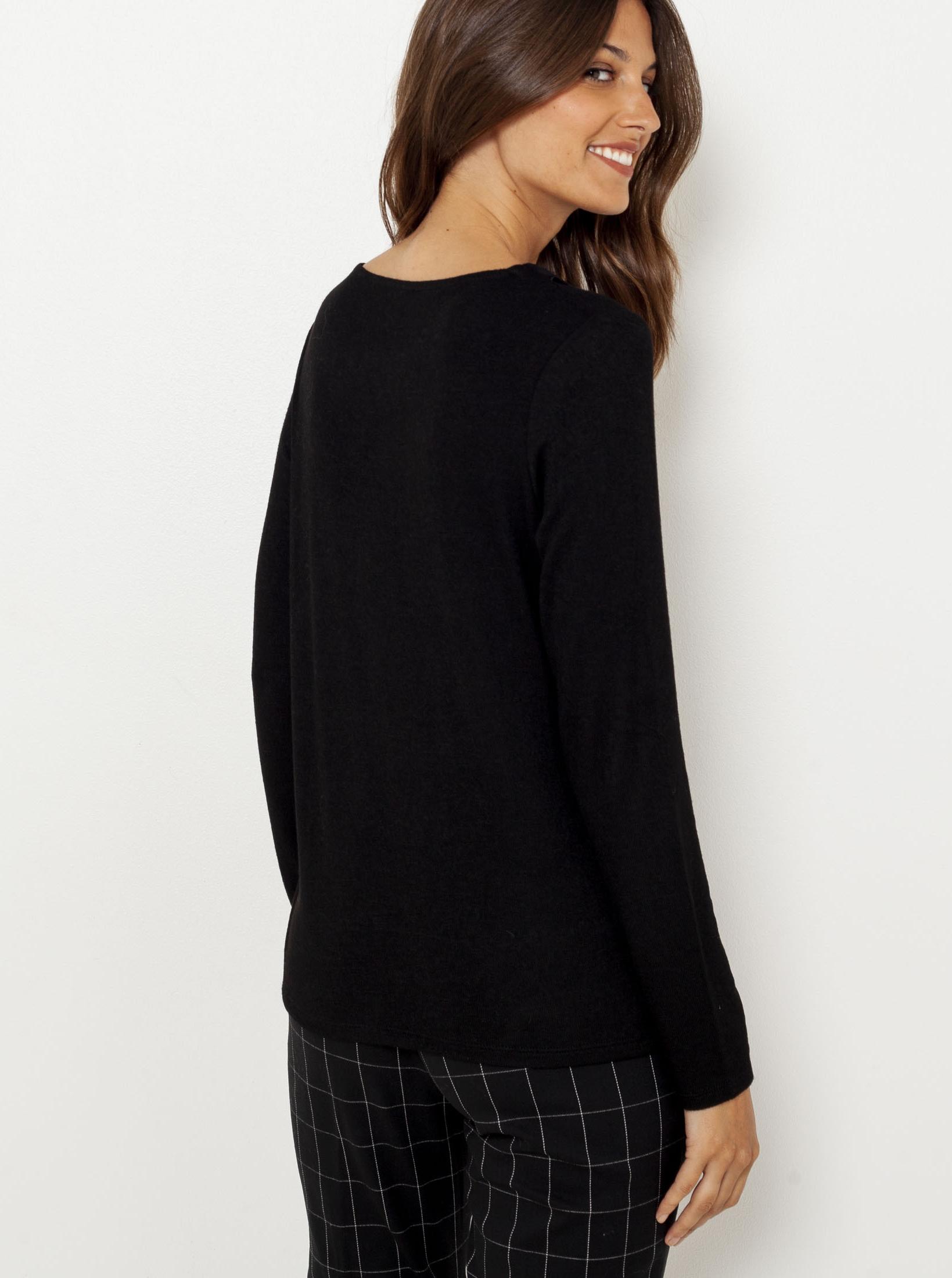 Černé tričko s ozdobnými detaily CAMAIEU