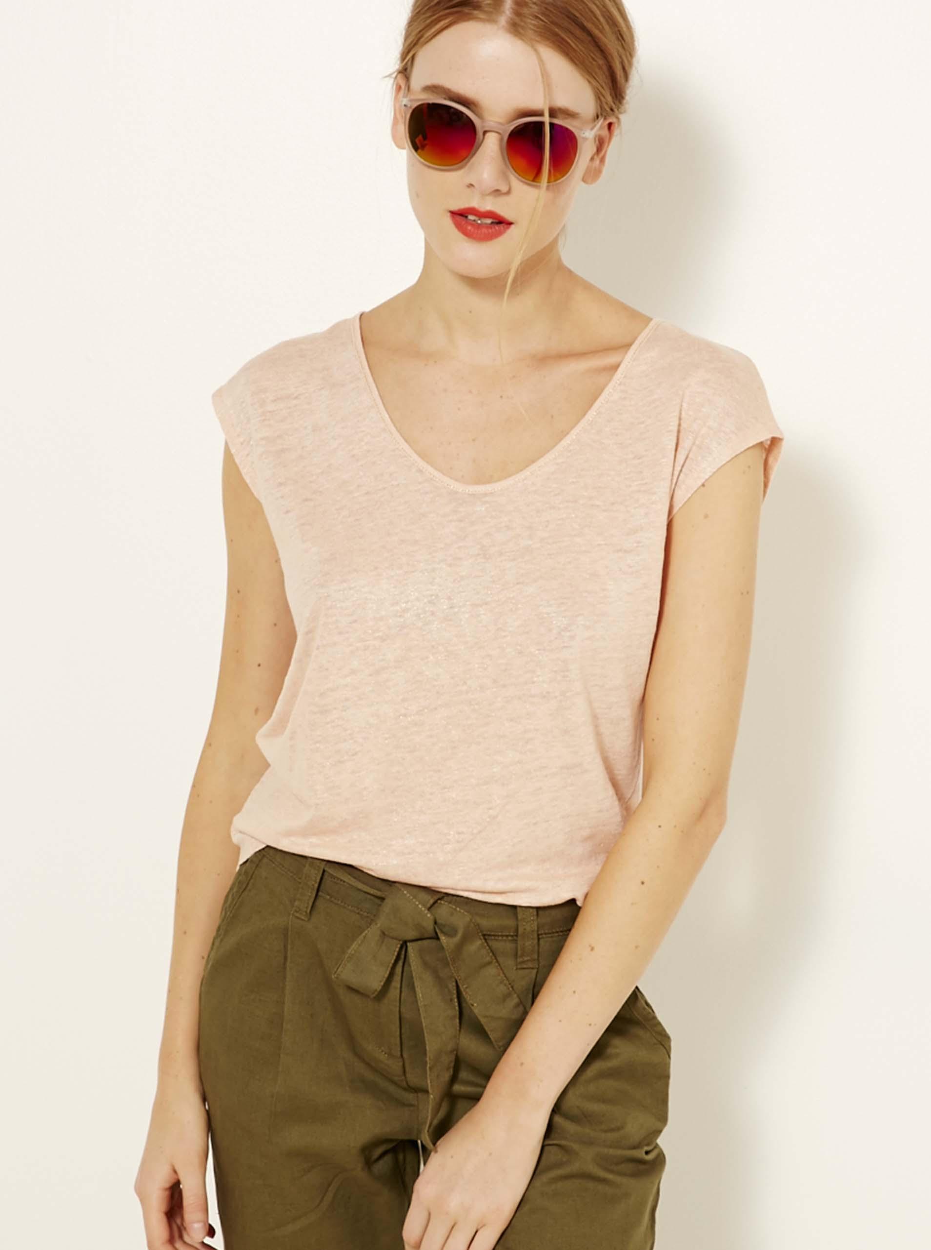 Světle růžové lněné tričko CAMAIEU