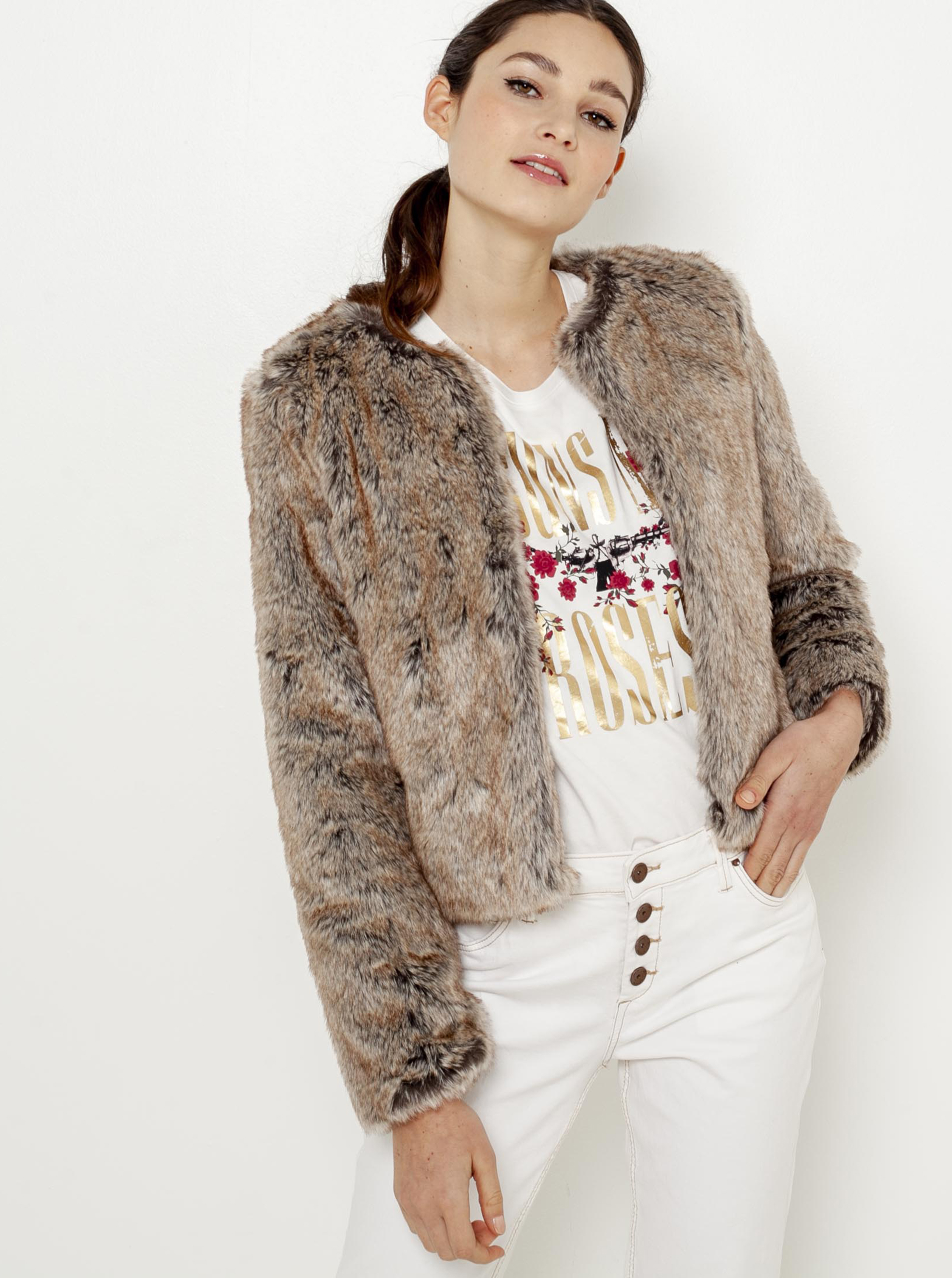 Béžový kabátek s umělým kožíškem CAMAIEU - XXL