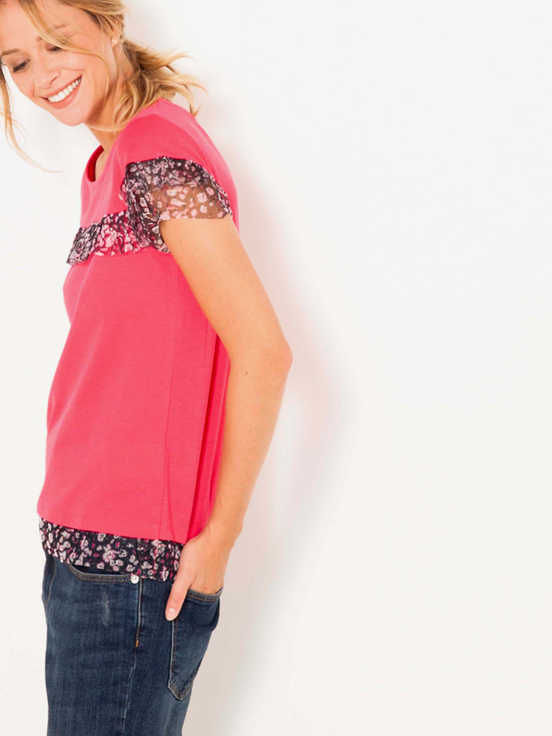 Růžové tričko s volány CAMAIEU