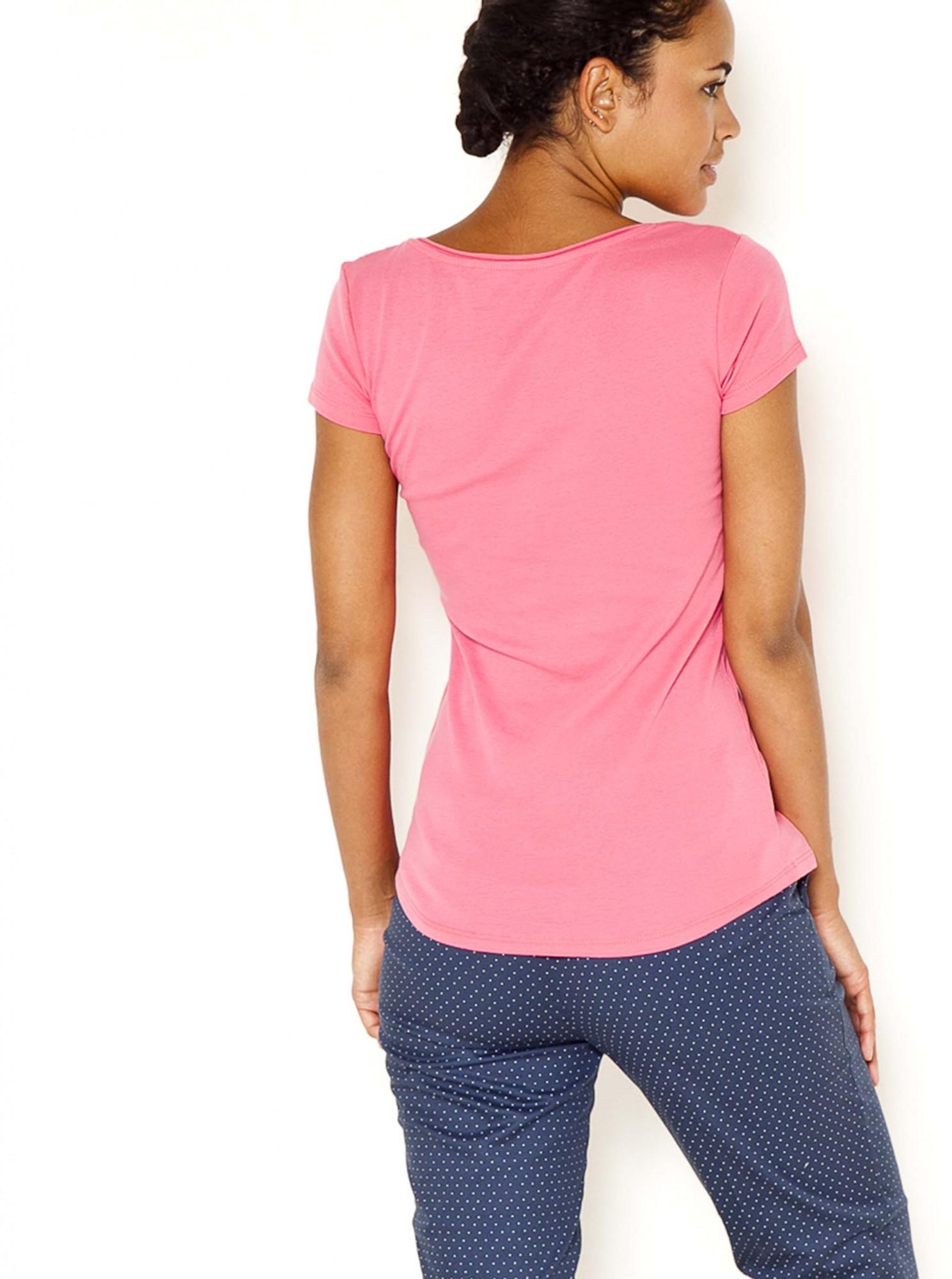 Růžové tričko s knoflíky CAMAIEU